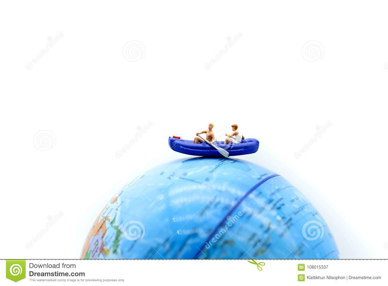 Mini World Map.Miniature People With Paddle Boat On Mini World Map Business