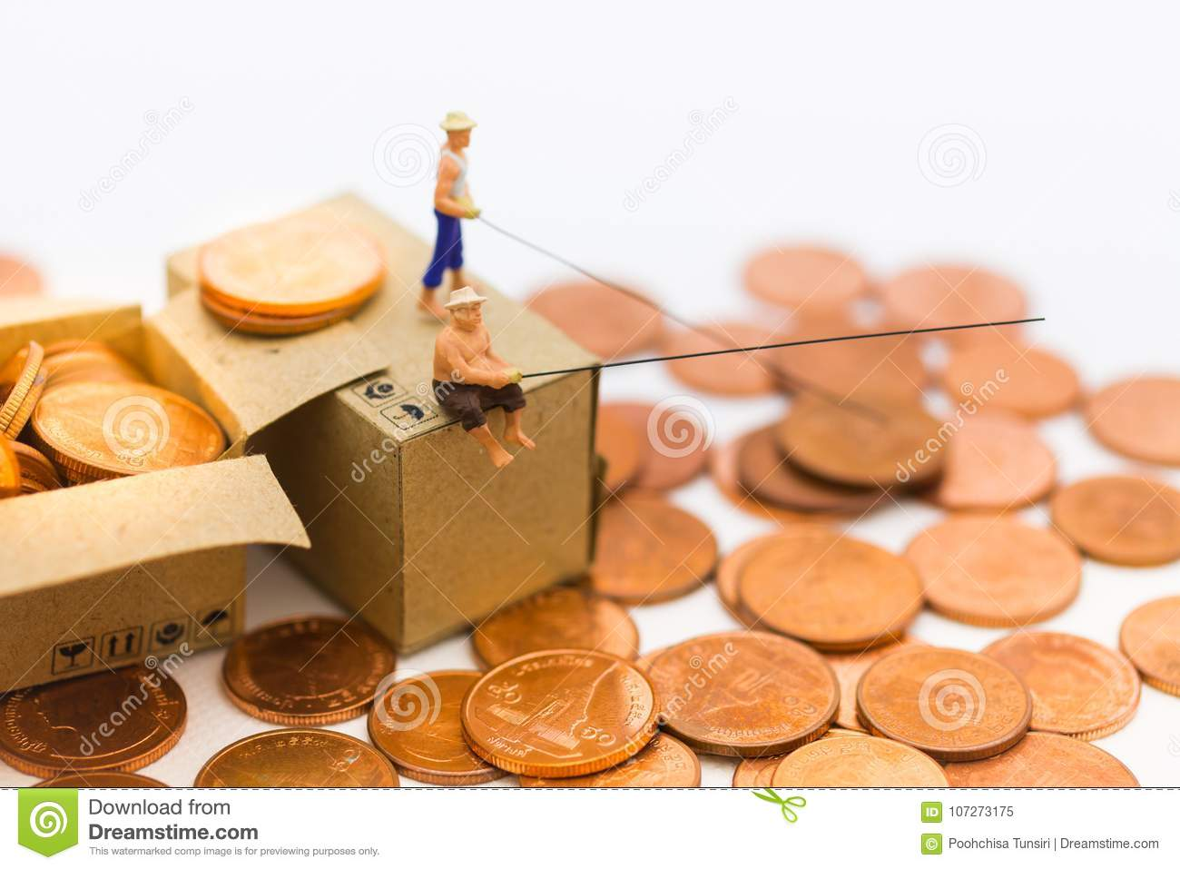 Miniature People People Use The Fishing Rod To Take Money From The