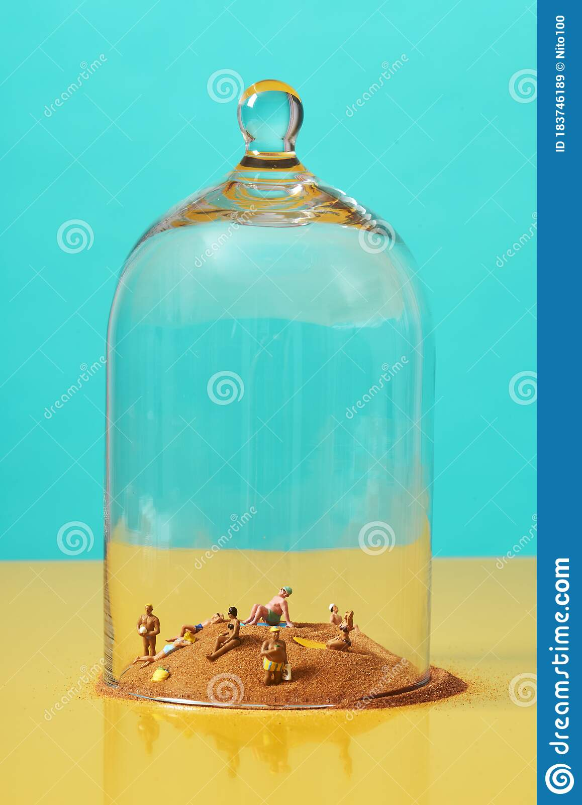 Miniature People On The Sand In A Bell Jar Stock Image Image Of Conceptual Relaxing 183746189