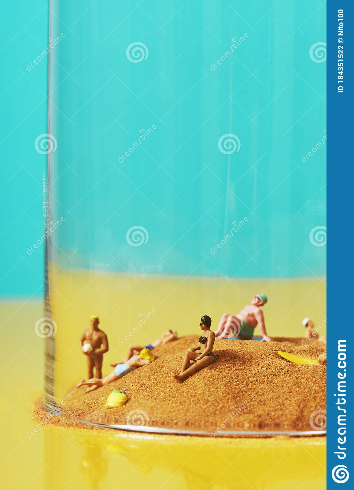 Miniature People On The Sand In A Bell Jar Stock Photo Image Of Heat Bather 184351522