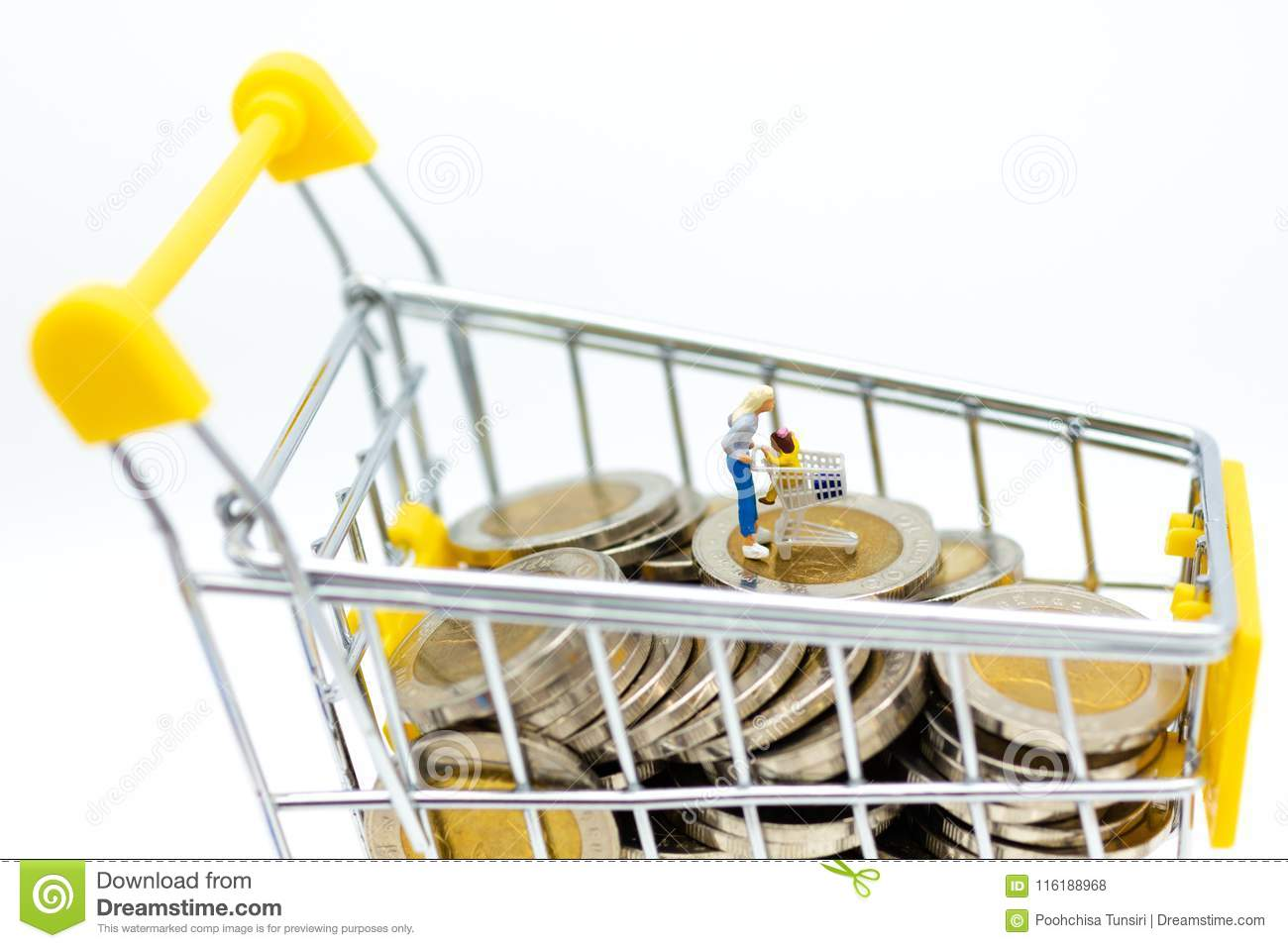 Miniature people : Shoppers with shopping cart on stack of coin. Image use for retail business concept