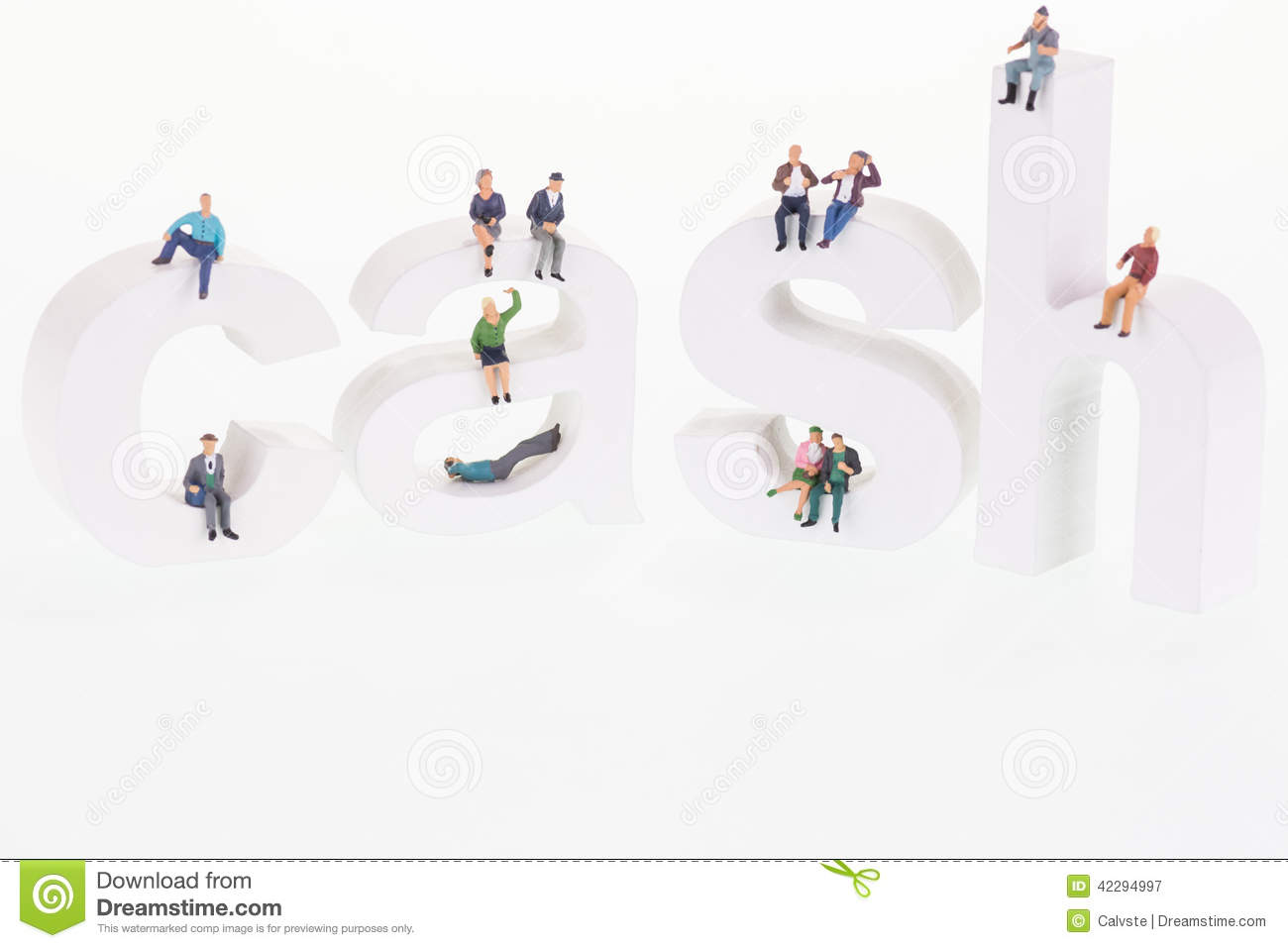 Miniature people sitting on cash wooden letters