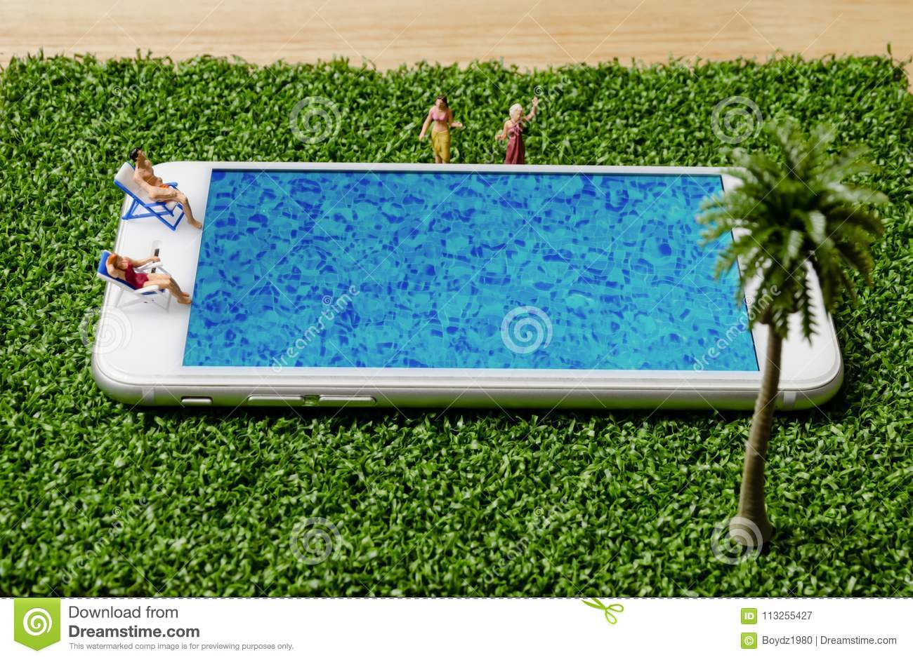 Mobile Pool miniature people in swimsuit sitting and relax on mobile phone