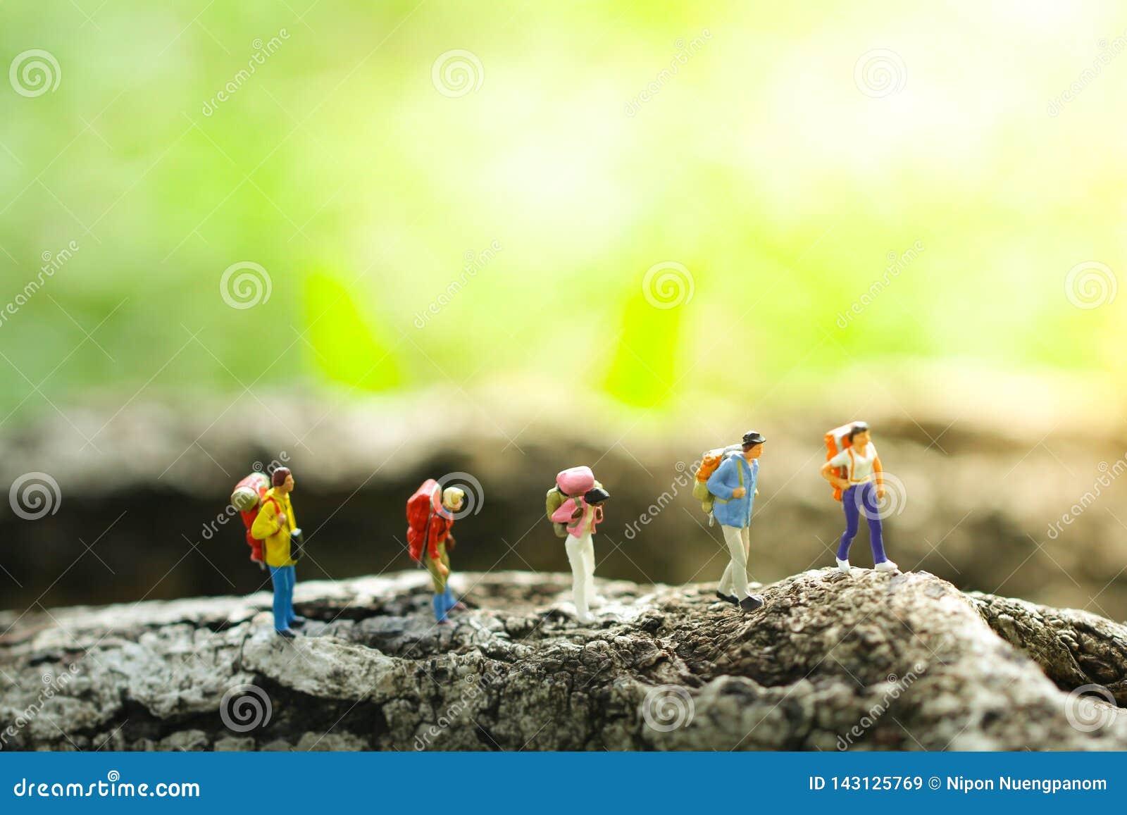 Five travelers trekking in jungle on greenery blurred background