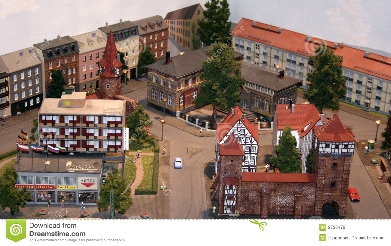 Miniature Scale Model Town Royalty Free Stock Images - Image: 2736479