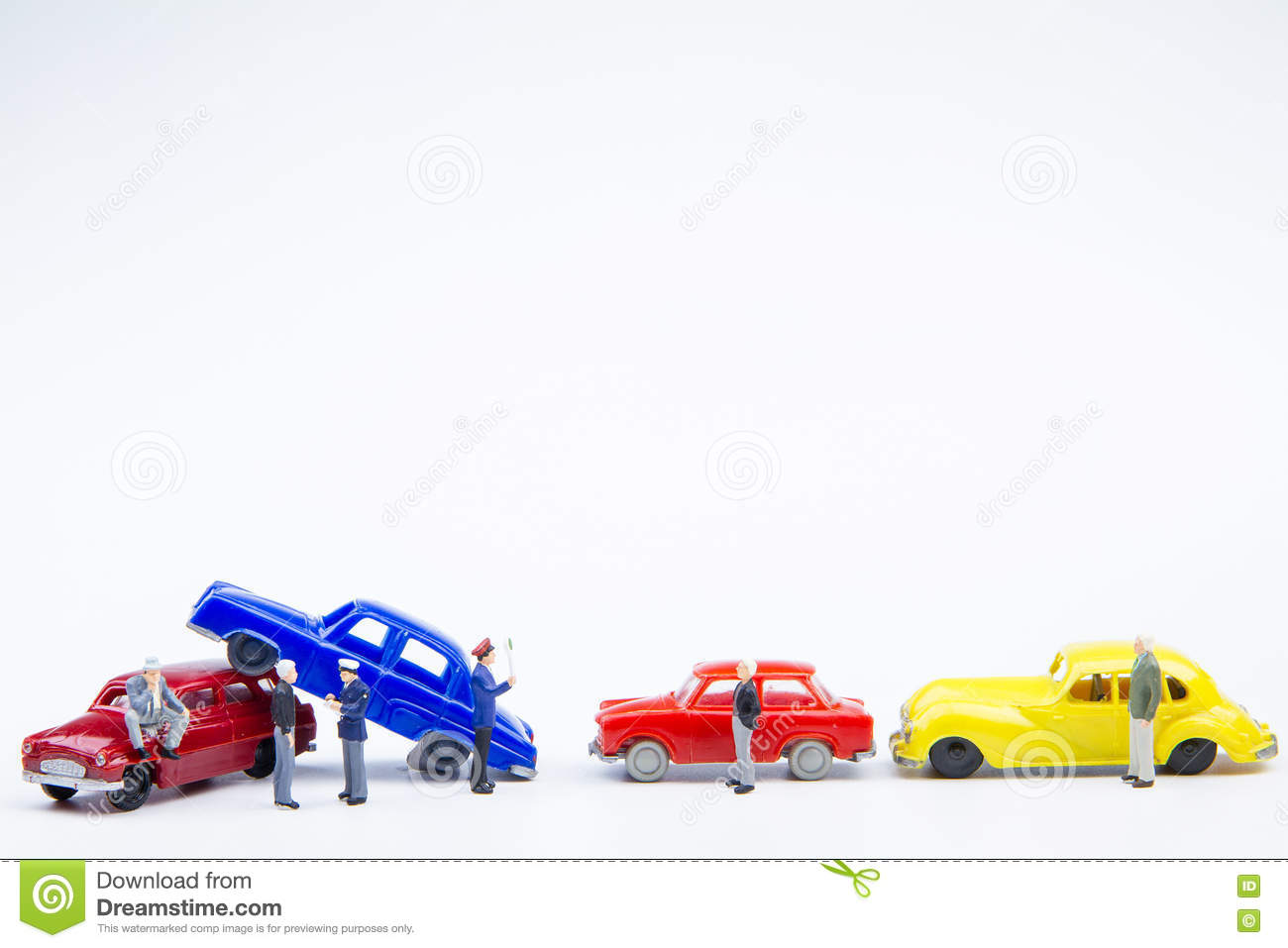 Miniature Tiny Toys Car Crash Accident Damaged Insurance On The