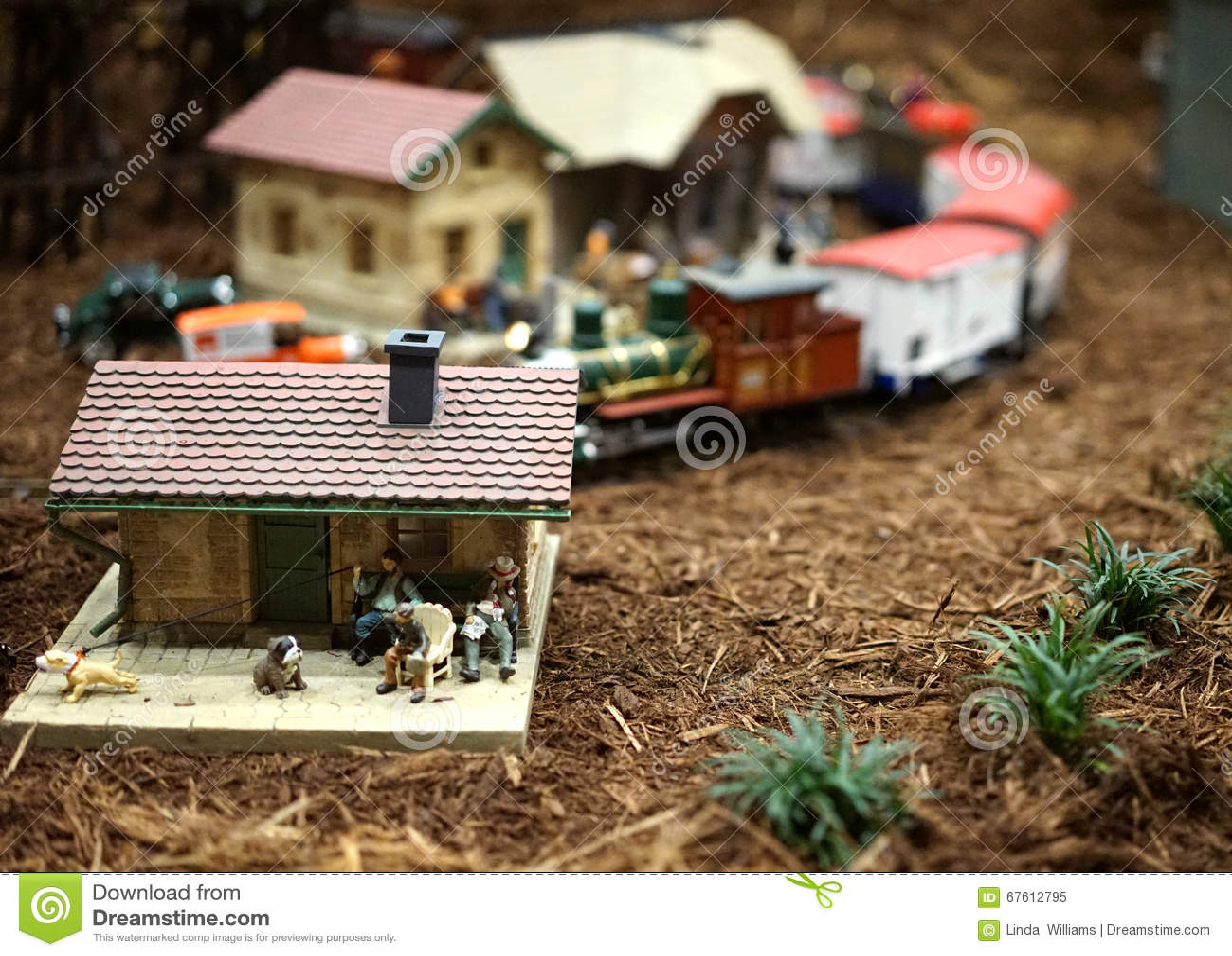 Miniature town and train scene
