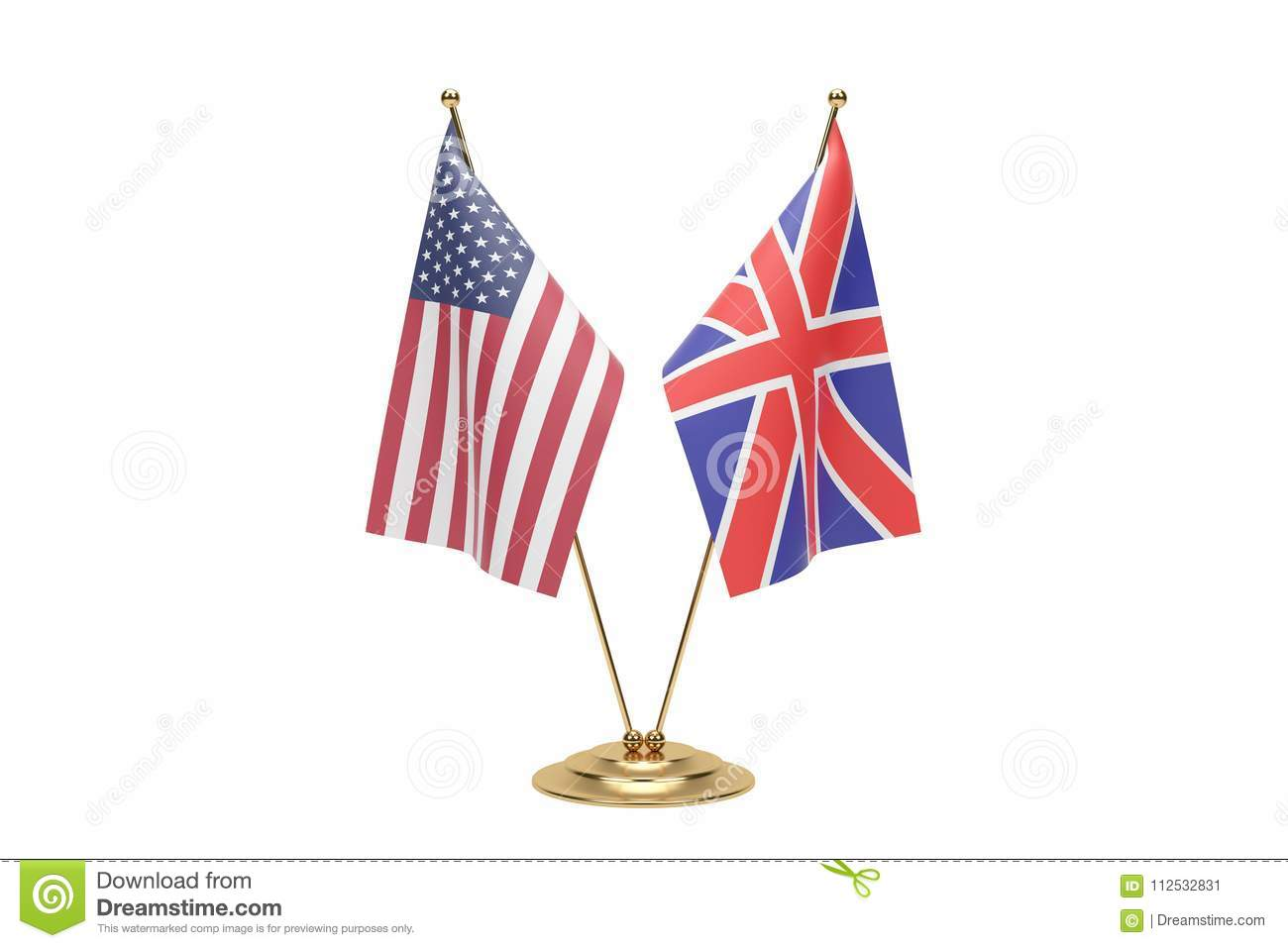 Map Of Usa And England.Miniature Usa And England Flag Concept On White With Clipping Path