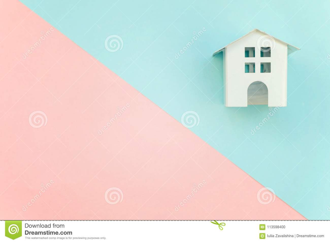 Miniature White Toy House On Pink And Blue Background Stock Photo ...
