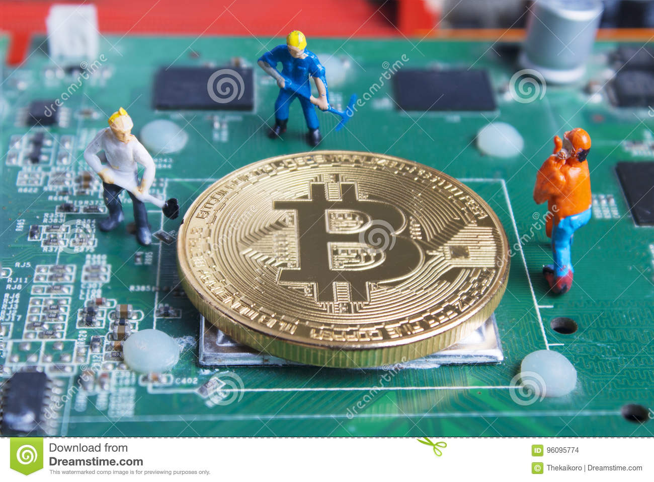 Miniature Working Man Digging And Mining Bitcoin On Printed Circ Circuit Boards With Clock Hands Royalty Free Stock Image Board