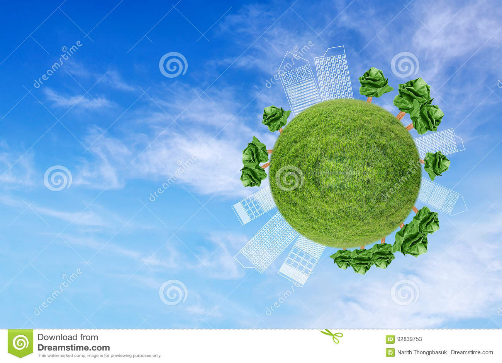 Miniaturowa kula ziemska pokazuje środowisko z drzewo papierem
