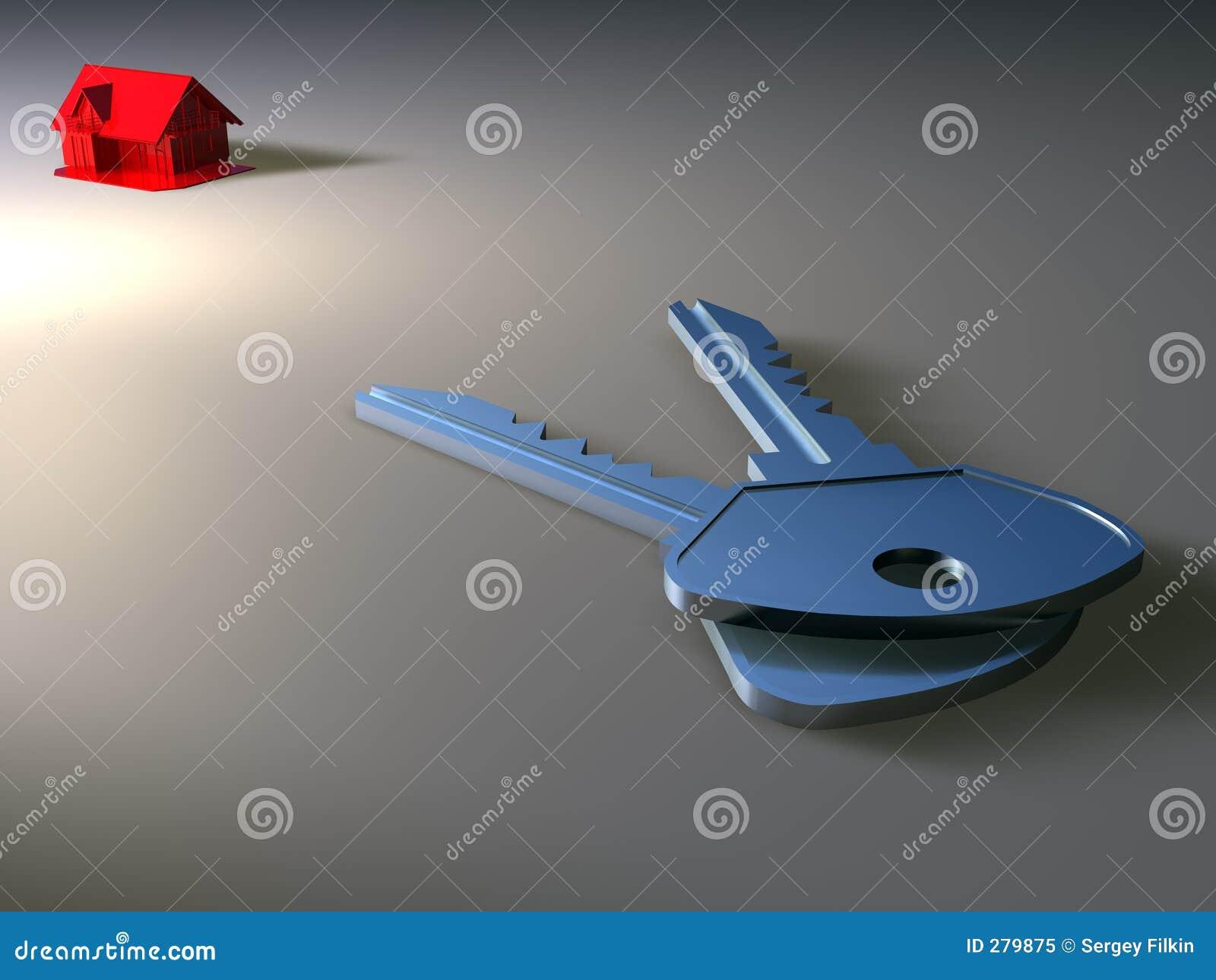 Miniatuur huis en sleutel
