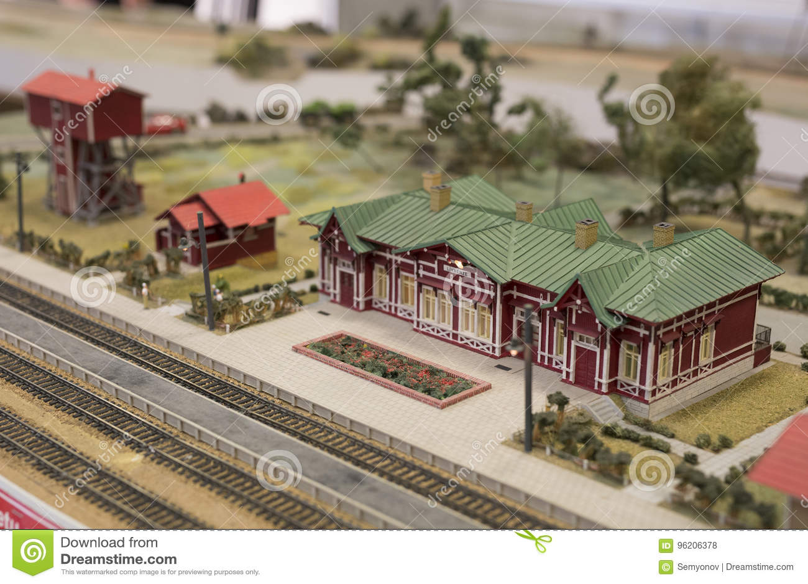 Miniatuur van station Model van retro spoorwegpost