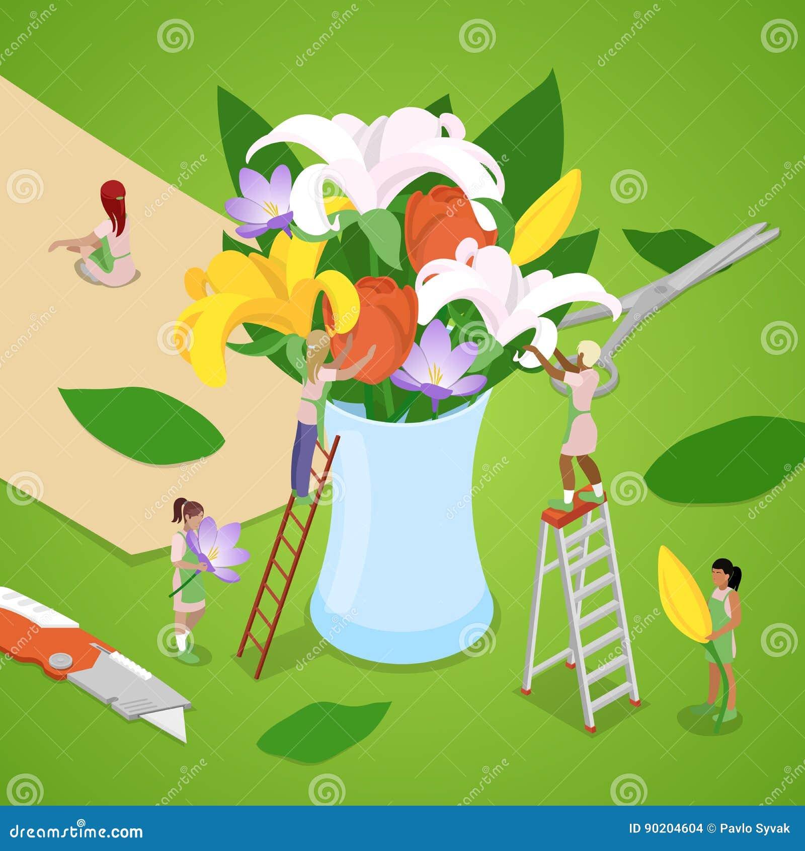 Miniatyrfolk som gör buketten av blommor Blomsterhandlaren shoppar Isometrisk illustration