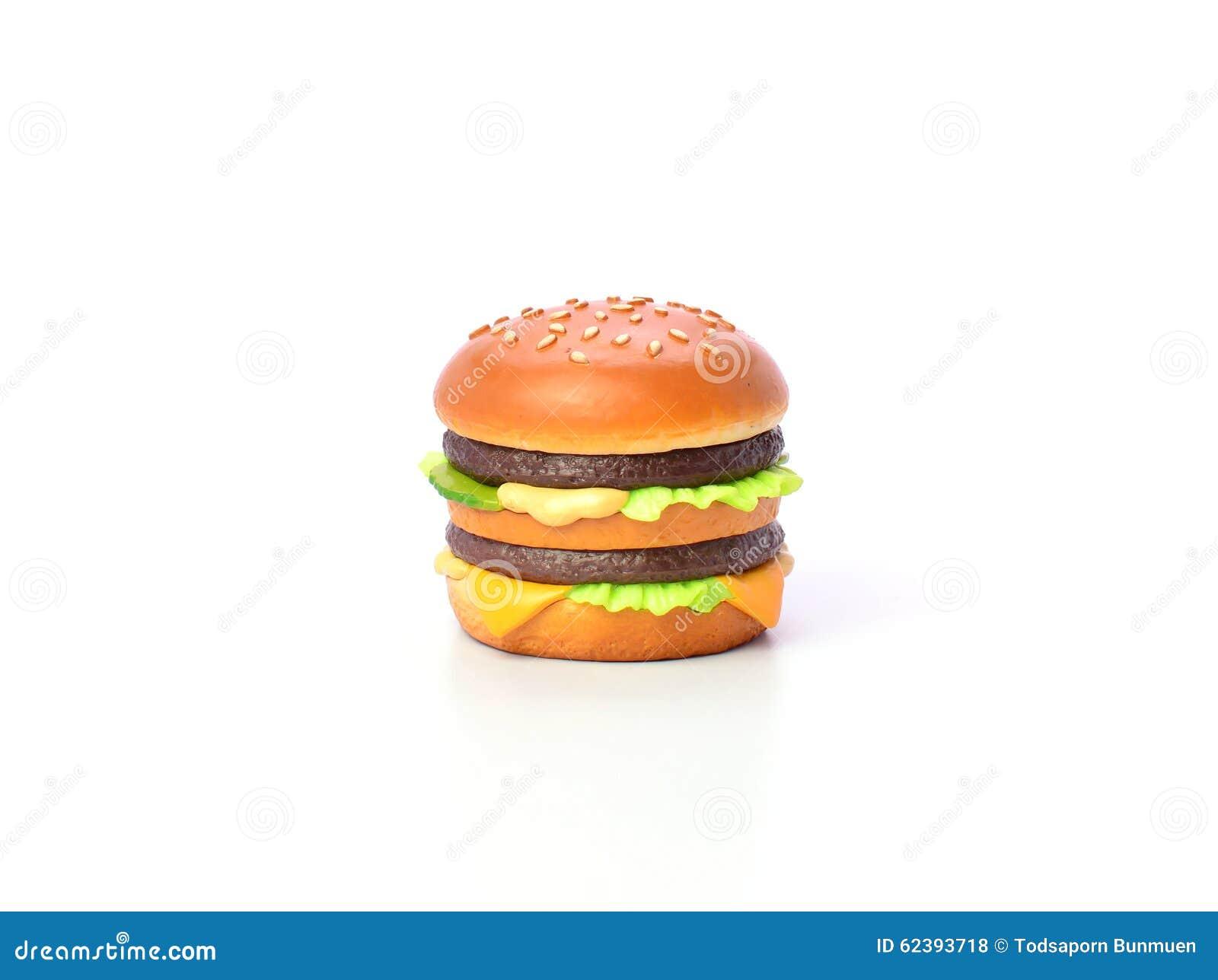 Minihamburgermodel van Japanse klei op witte achtergrond