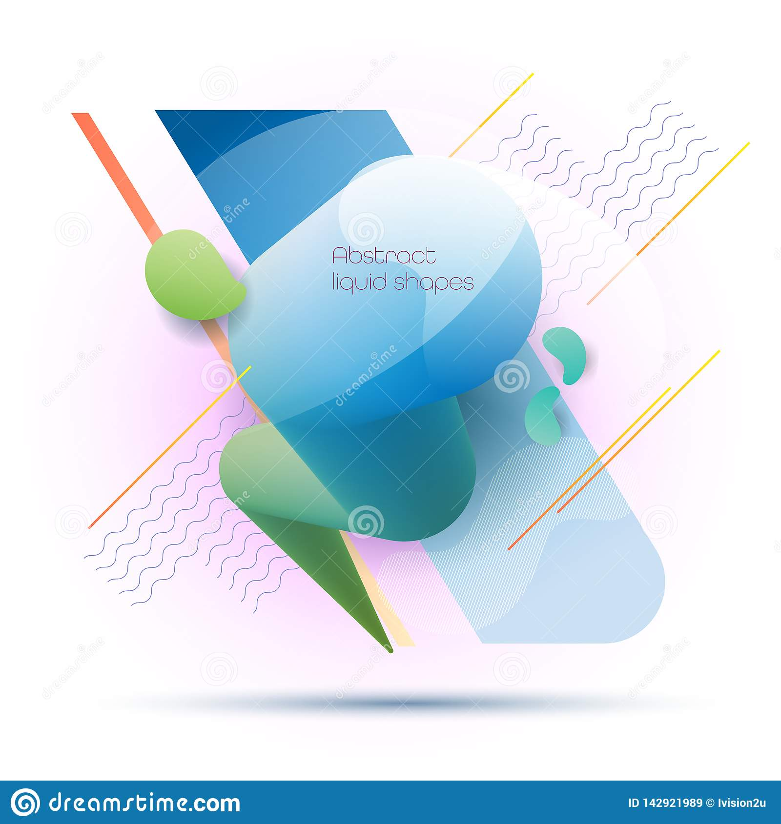 Minimal abstract 3d shape fluid and liquid gradient colorful background for layout, banner, poster, template, flyer. Vector modern