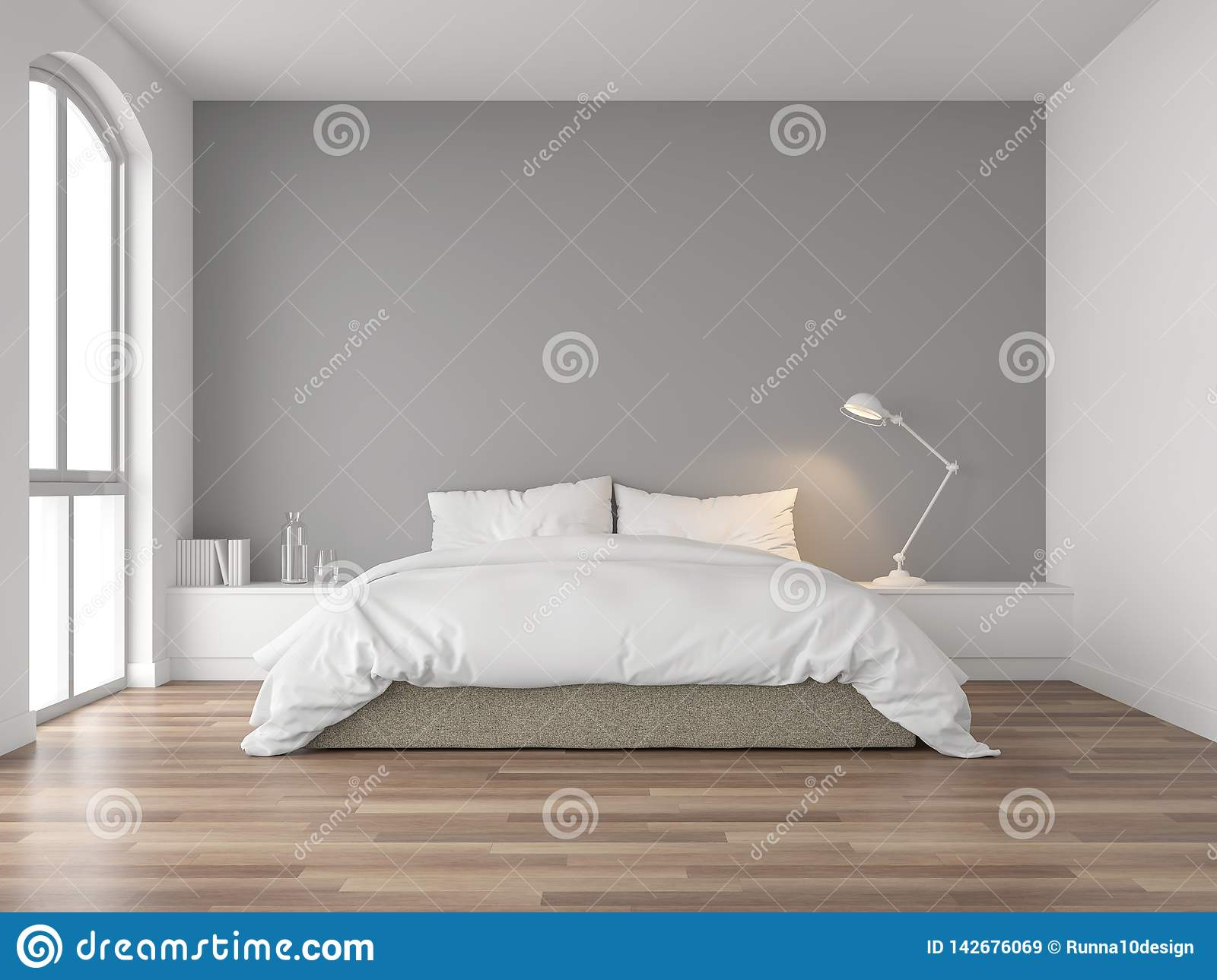 Minimal Bedroom With Gray Wall 3d Render Stock Illustration Illustration Of Cozy Basic 142676069