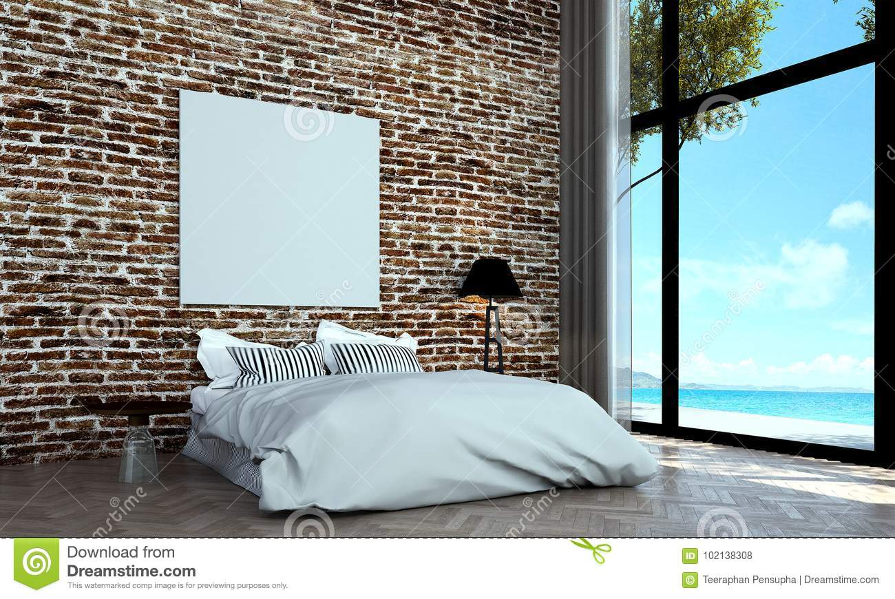 The Minimal Bedroom Interior Design And Red Brick Wall Pattern