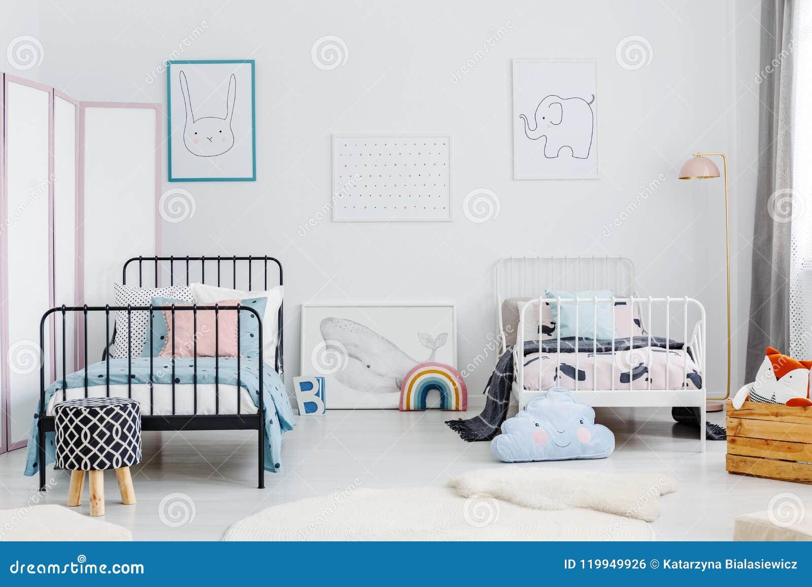 Minimal Bedroom Interior For Two Children. Metal Frame Beds, Som ...