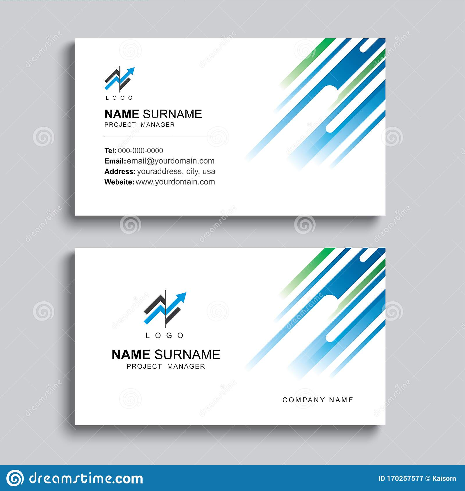 Minimal Business Card Print Template Design. Blue and Green Color For Template For Cards To Print Free