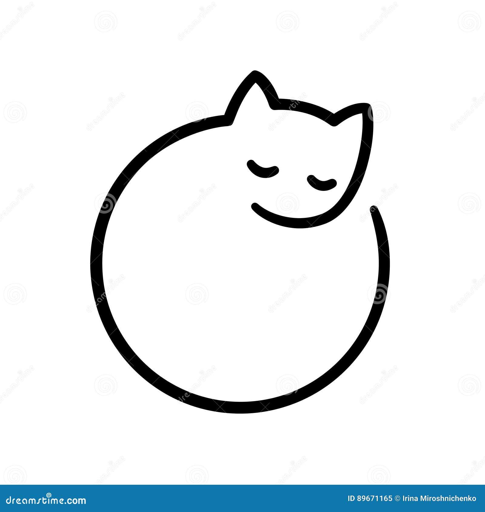 Minimal Cat Logo Cartoon Vector