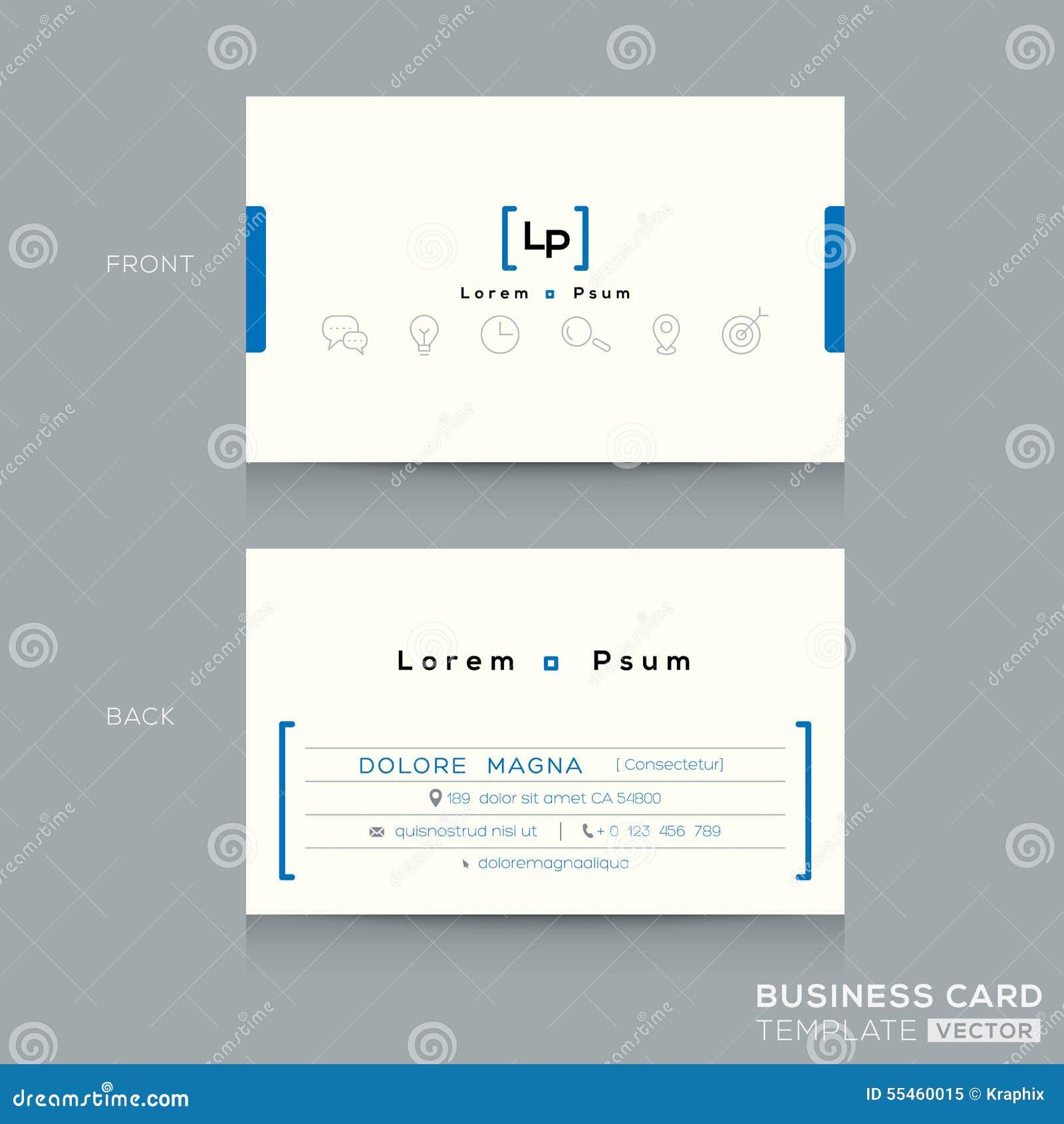 Minimal clean design business card template stock vector for The office business card template