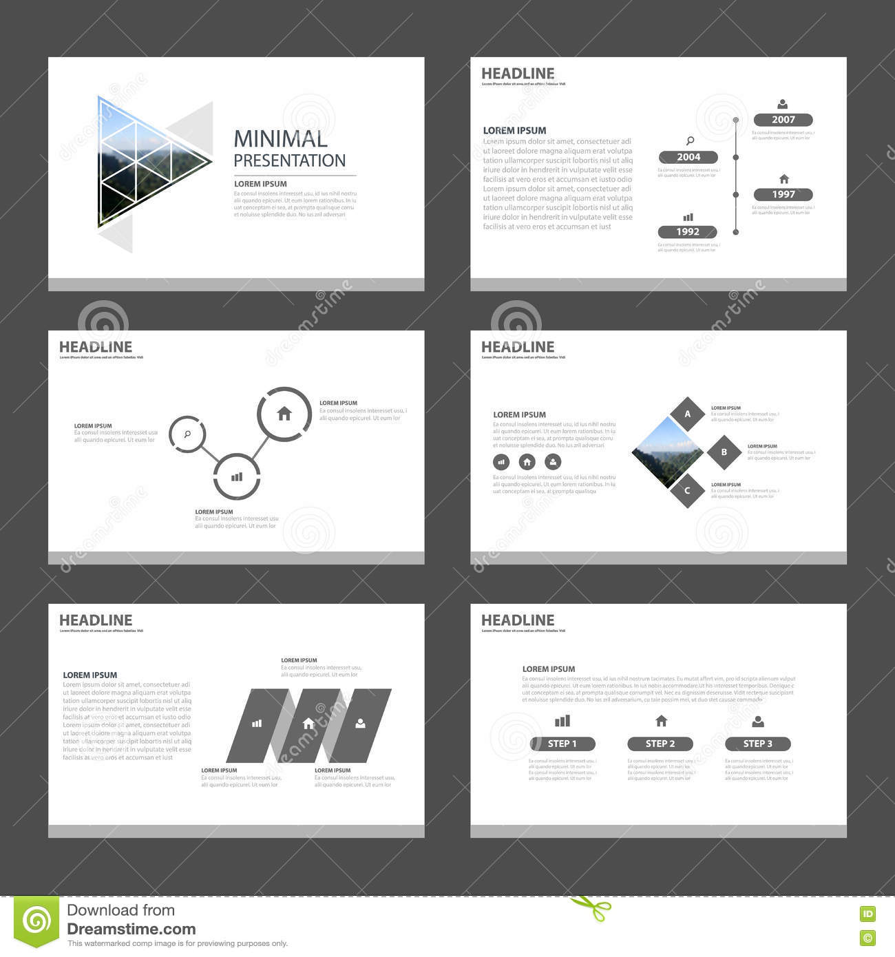 minimal and clean presentation templates infographic stock