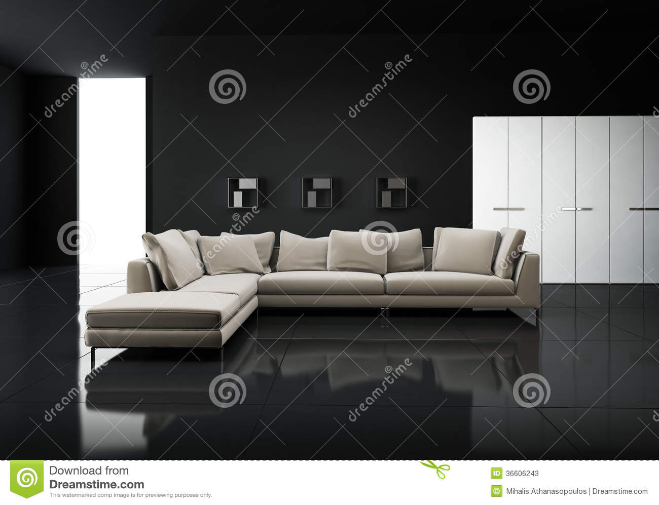 Minimal contemporary elegant living room stock photos Black tile flooring modern living room