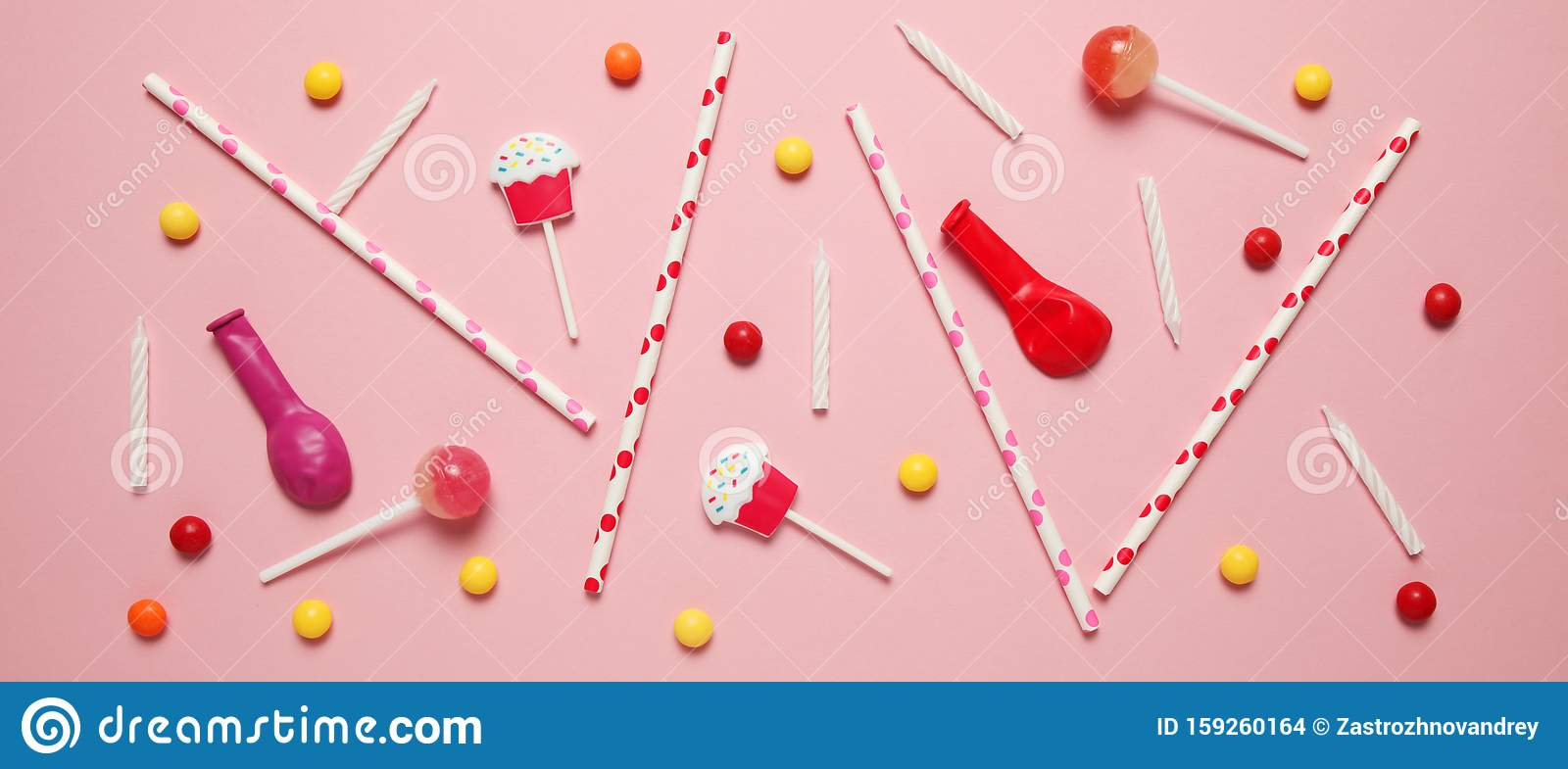 Minimal happy birthday decor for party. Sweet candy, balloons, straw