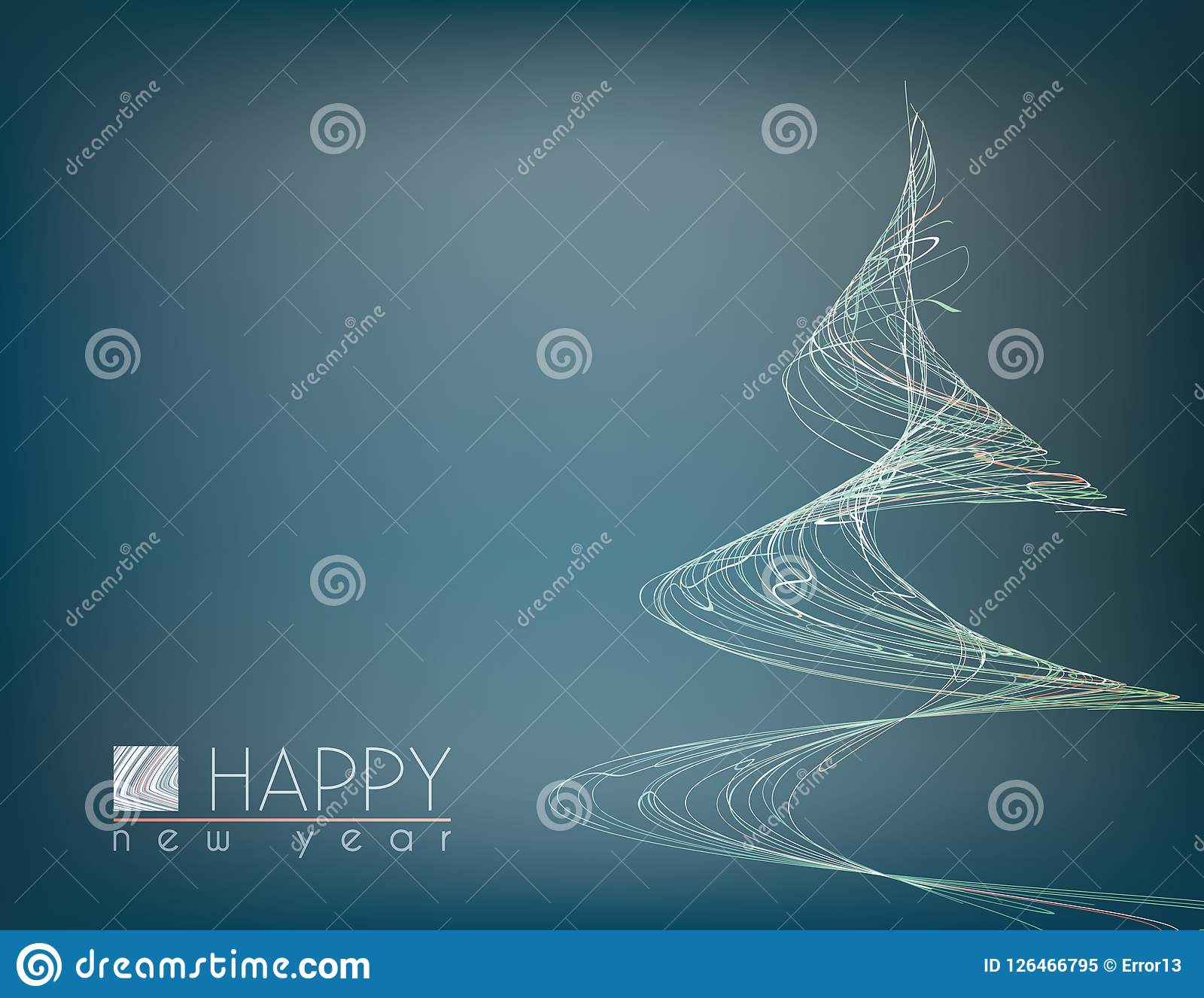 minimal happy new year card with unusual christmas tree