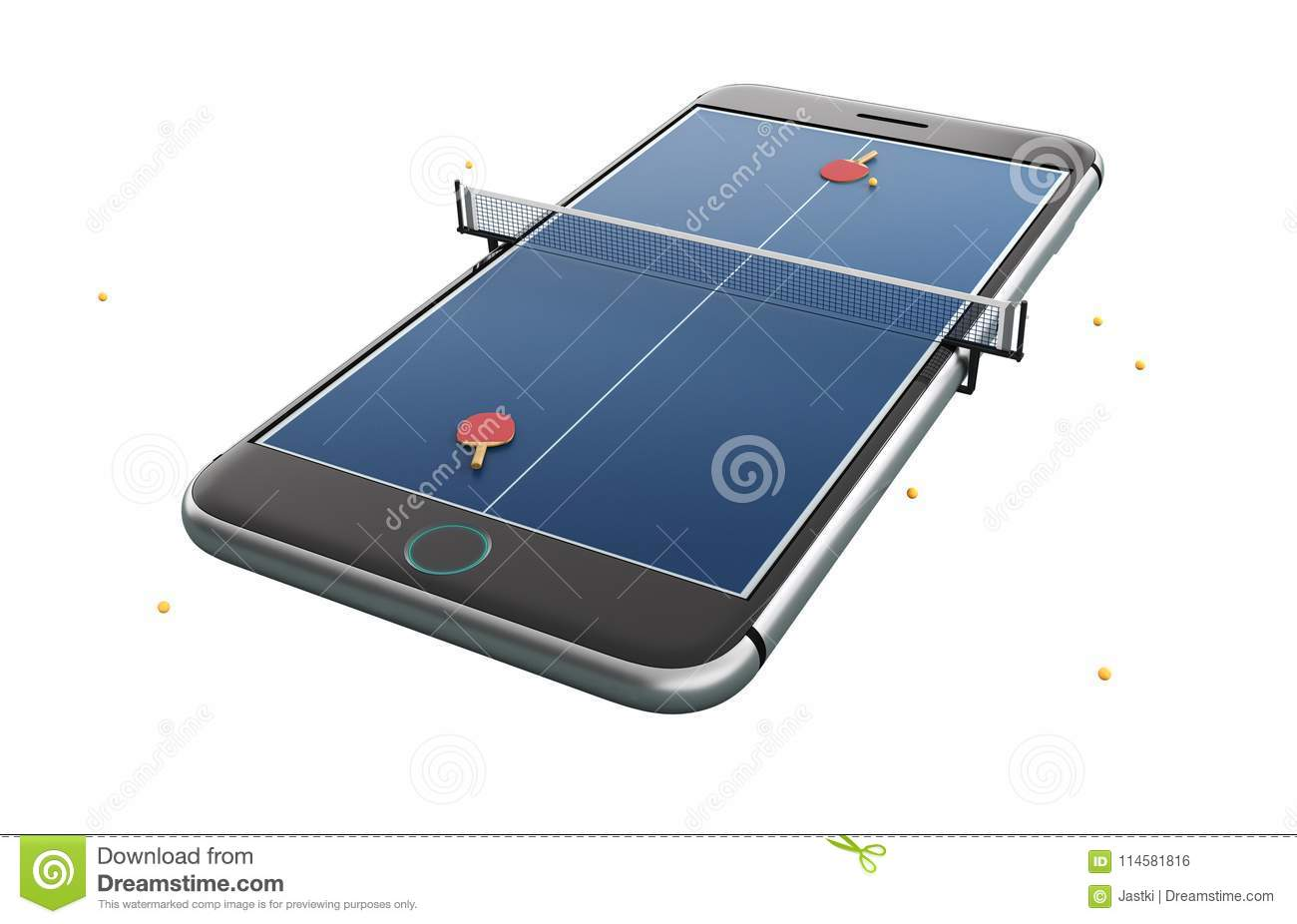 Mobile Phone Isolated Screen Hockey Game Concept 3d Illustration