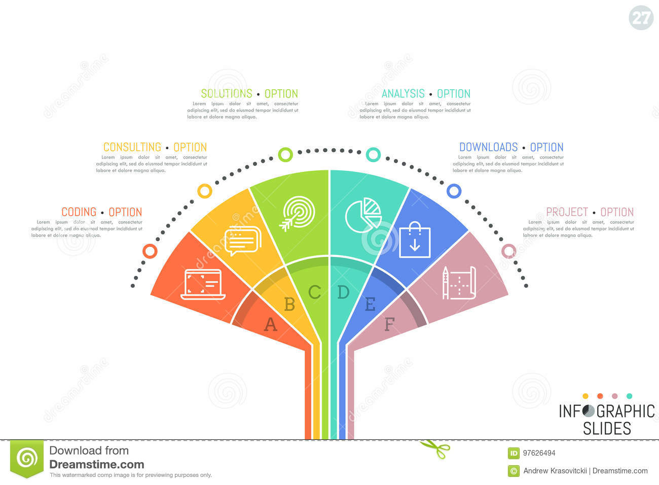 Minimal Infographic Design Template Fan Diagram Divided Into 6 Sectoral Elements Pictograms And Text Boxes Stock Vector Illustration Of Management Diagram 97626494