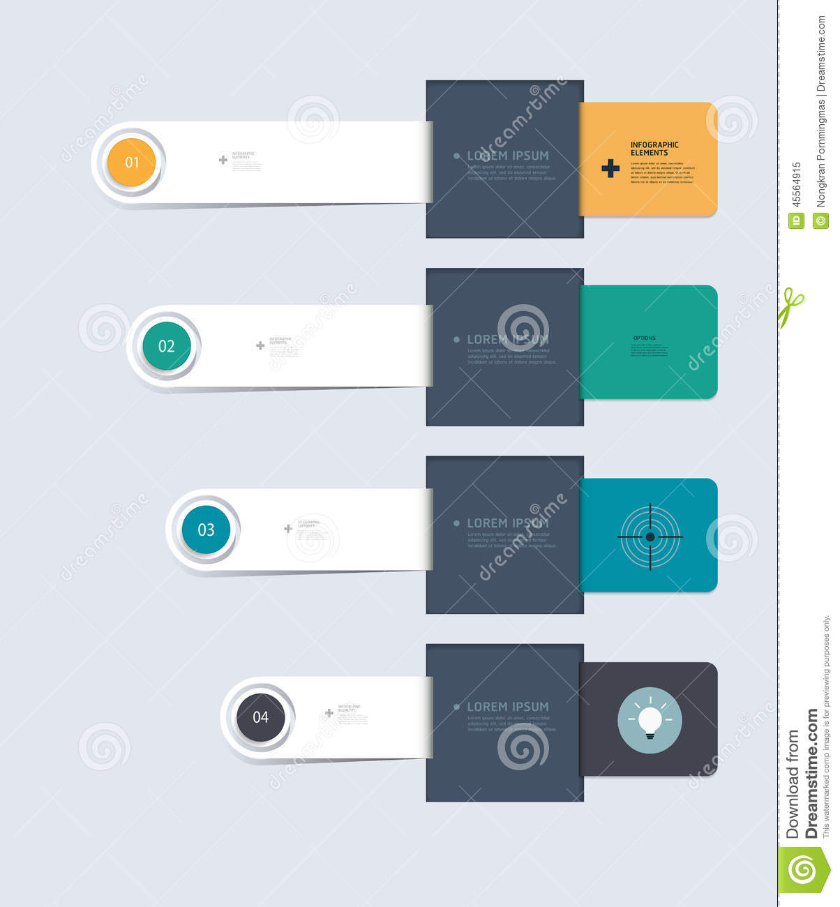 minimal infographic elements step by step template design stock