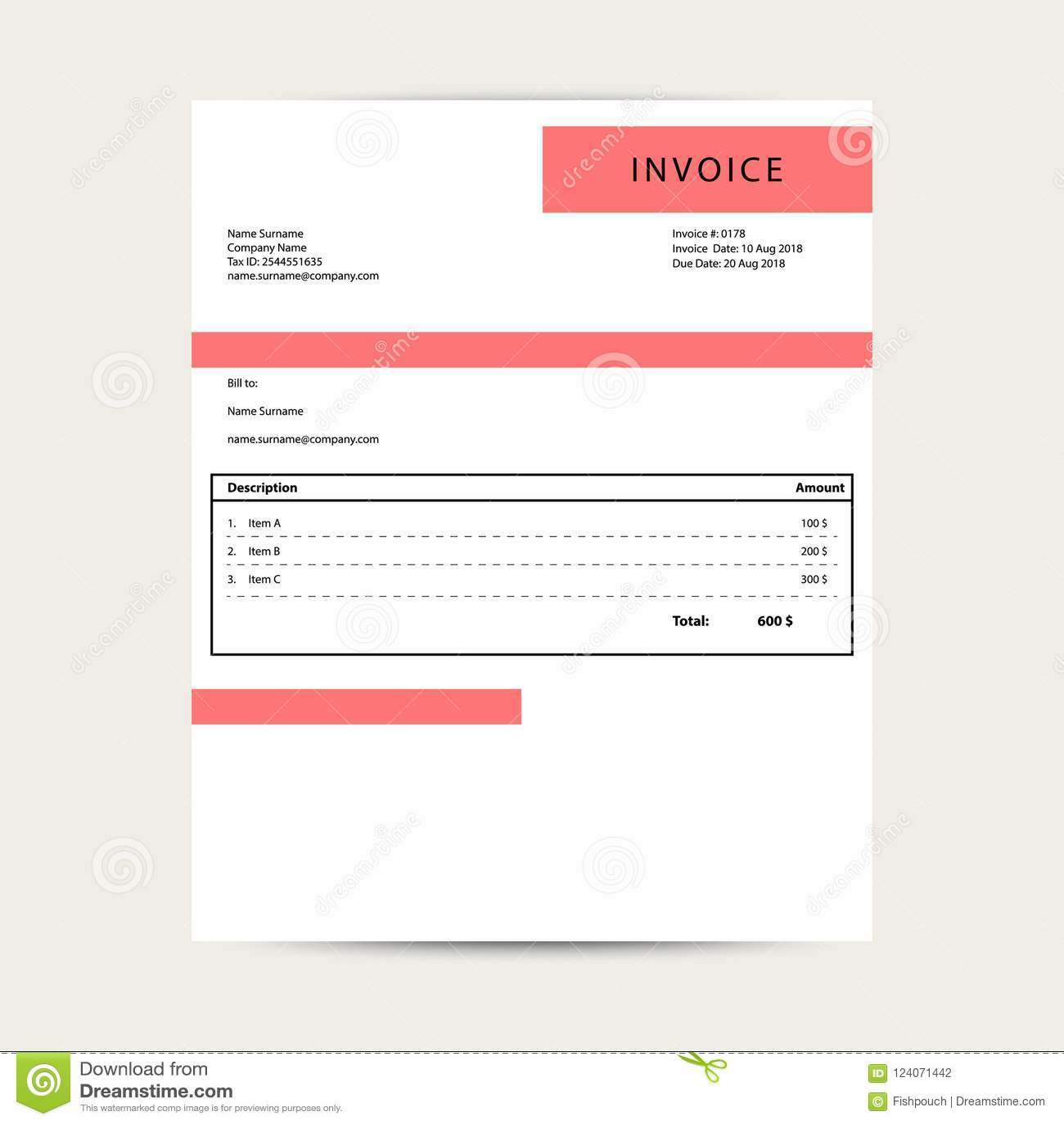 minimal invoice template vector bill sample design stock vector