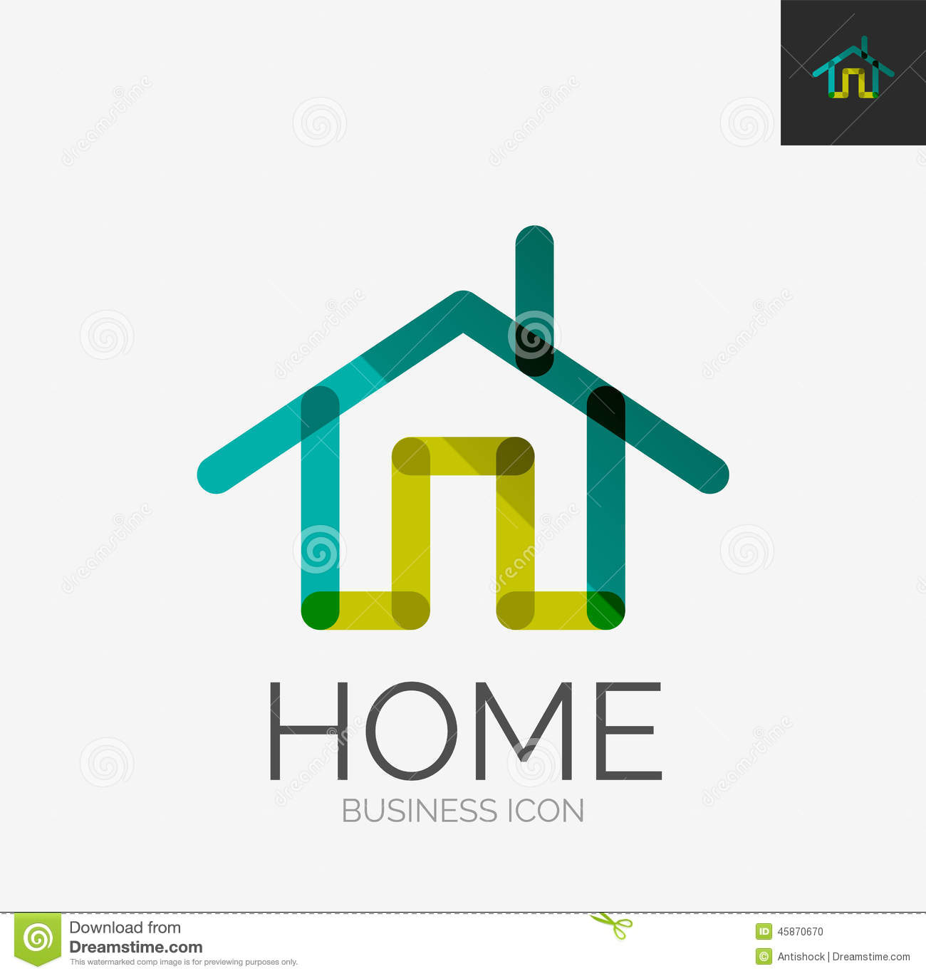 Home icon or logo in modern line style vector for Household design company