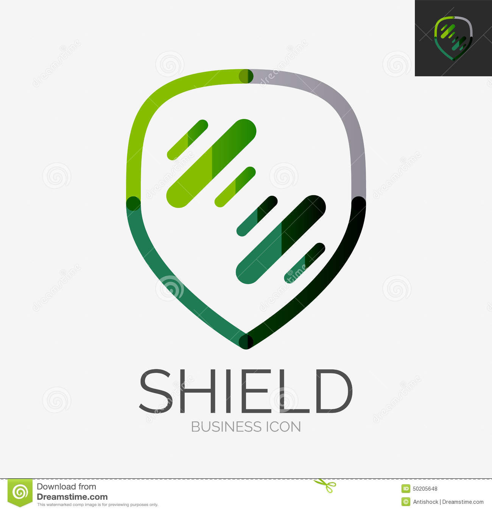 Line Logo Design : Minimal line design logo shield icon vector illustration