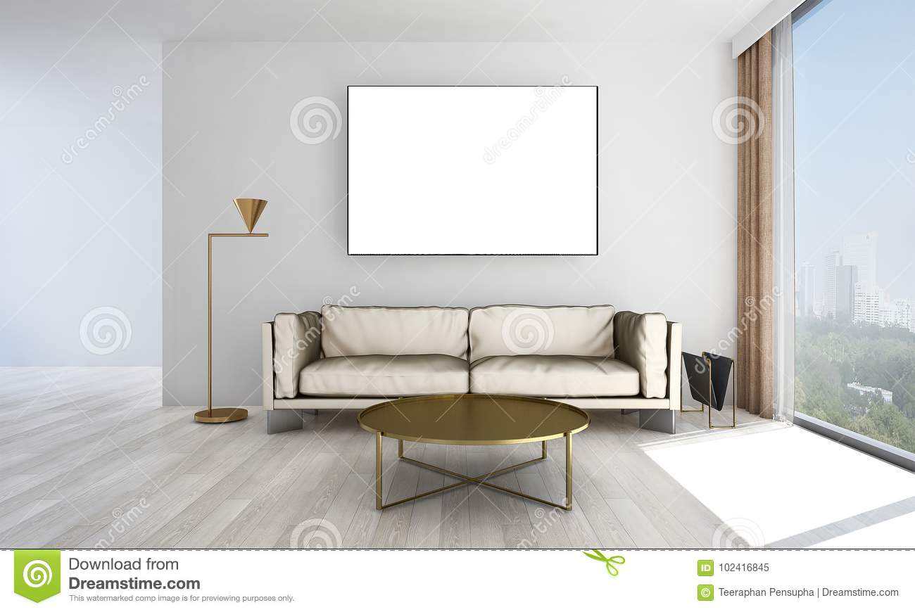 The Minimal Living Room Interior Design And Grey Wall Pattern ...