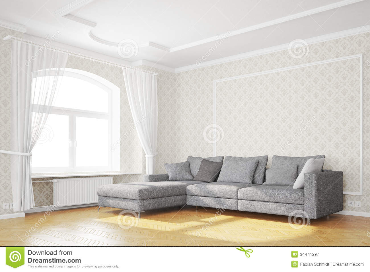 Minimal Living Room With Sofa Royalty Free Stock Photography - Image ...