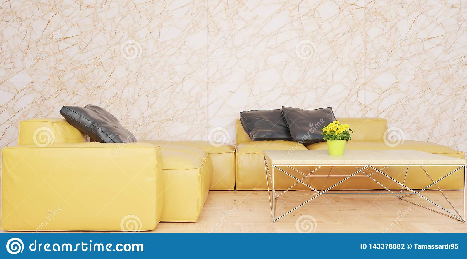 Minimal living room with yellow leather sofa set and marble wall 3D illustration