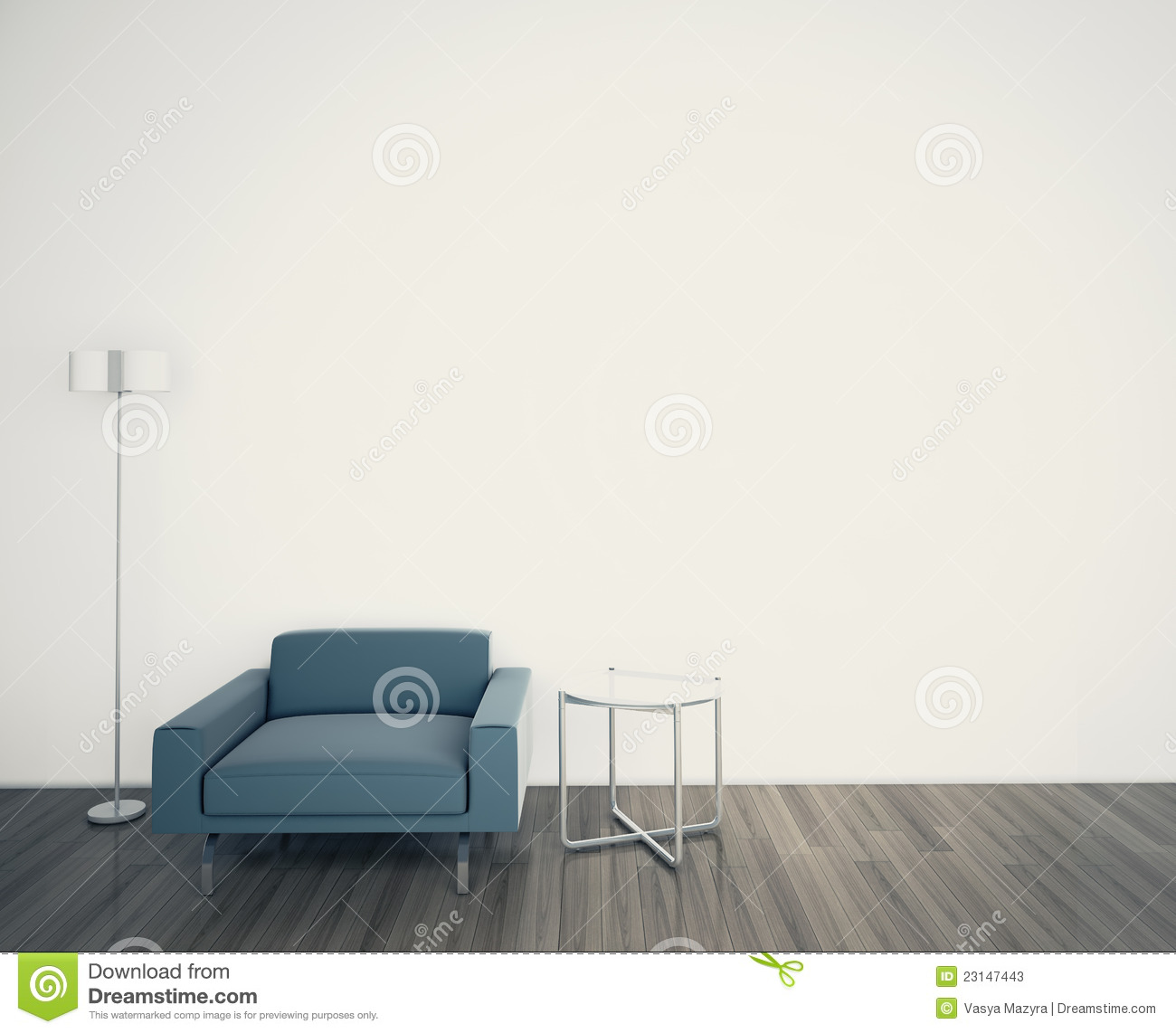Minimal Modern Interior Armchair Face A Blank Wall Stock