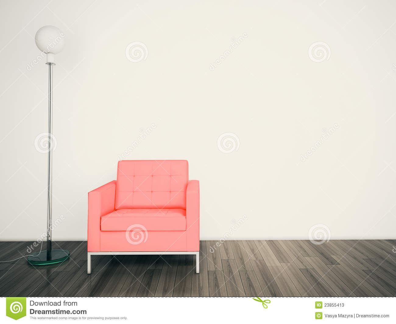Minimal modern interior armchair face a blank wall stock for What to do with a blank wall
