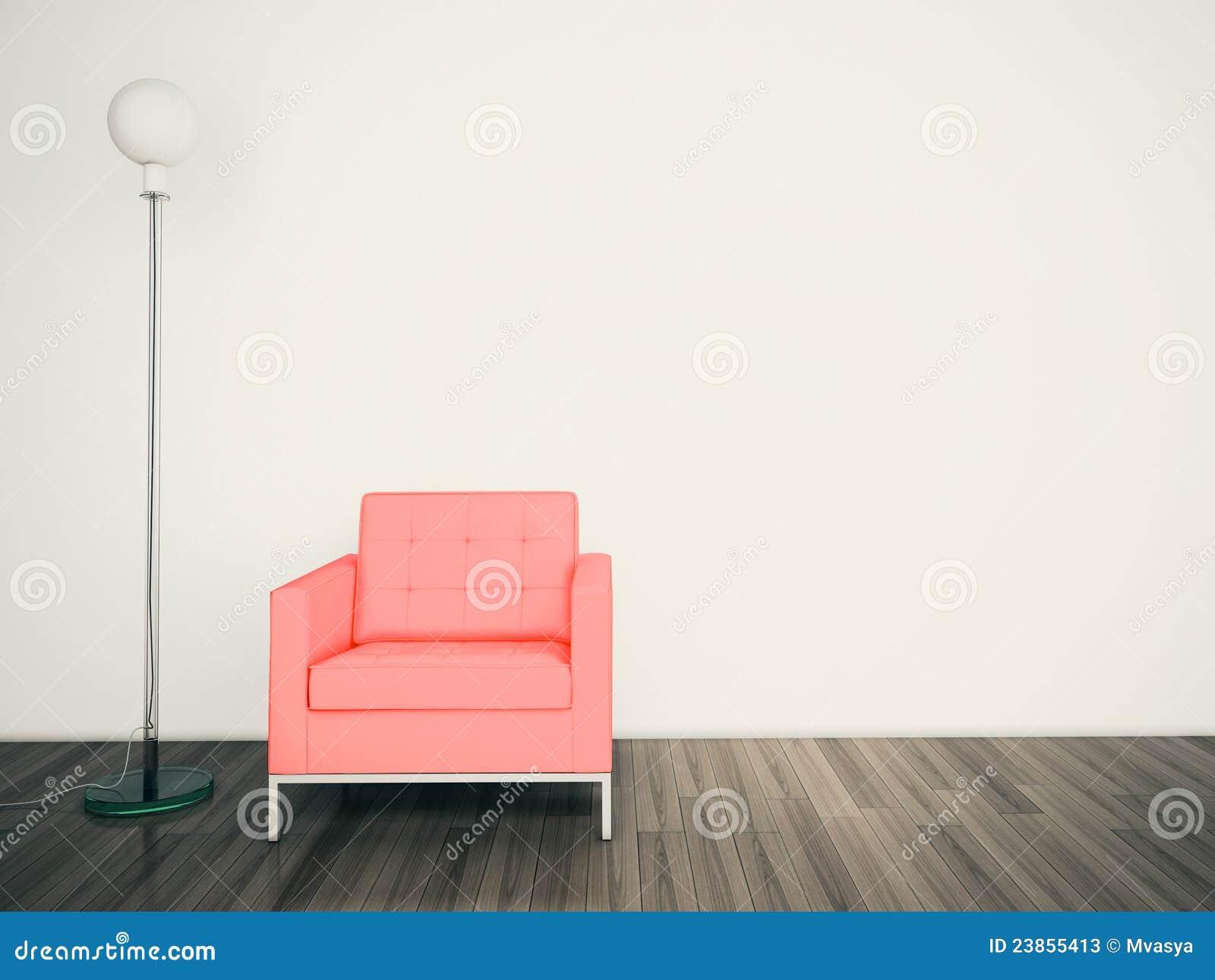 Minimal Modern Interior Armchair FACE A BLANK WALL Stock Photos - Image: 23855413