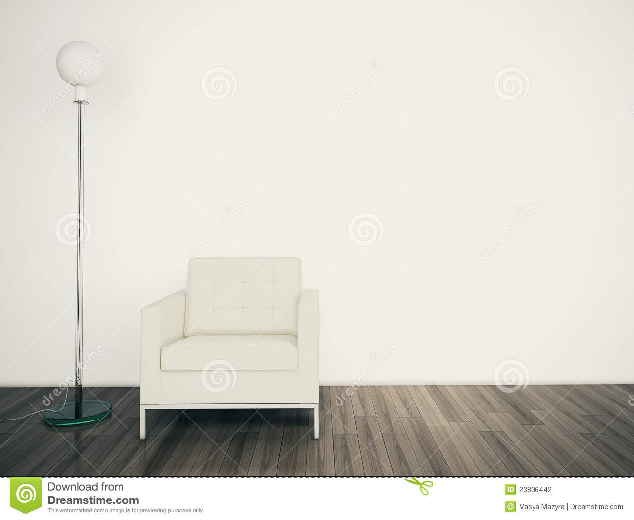 Minimal Modern Interior And Lamp Blank Wall Stock