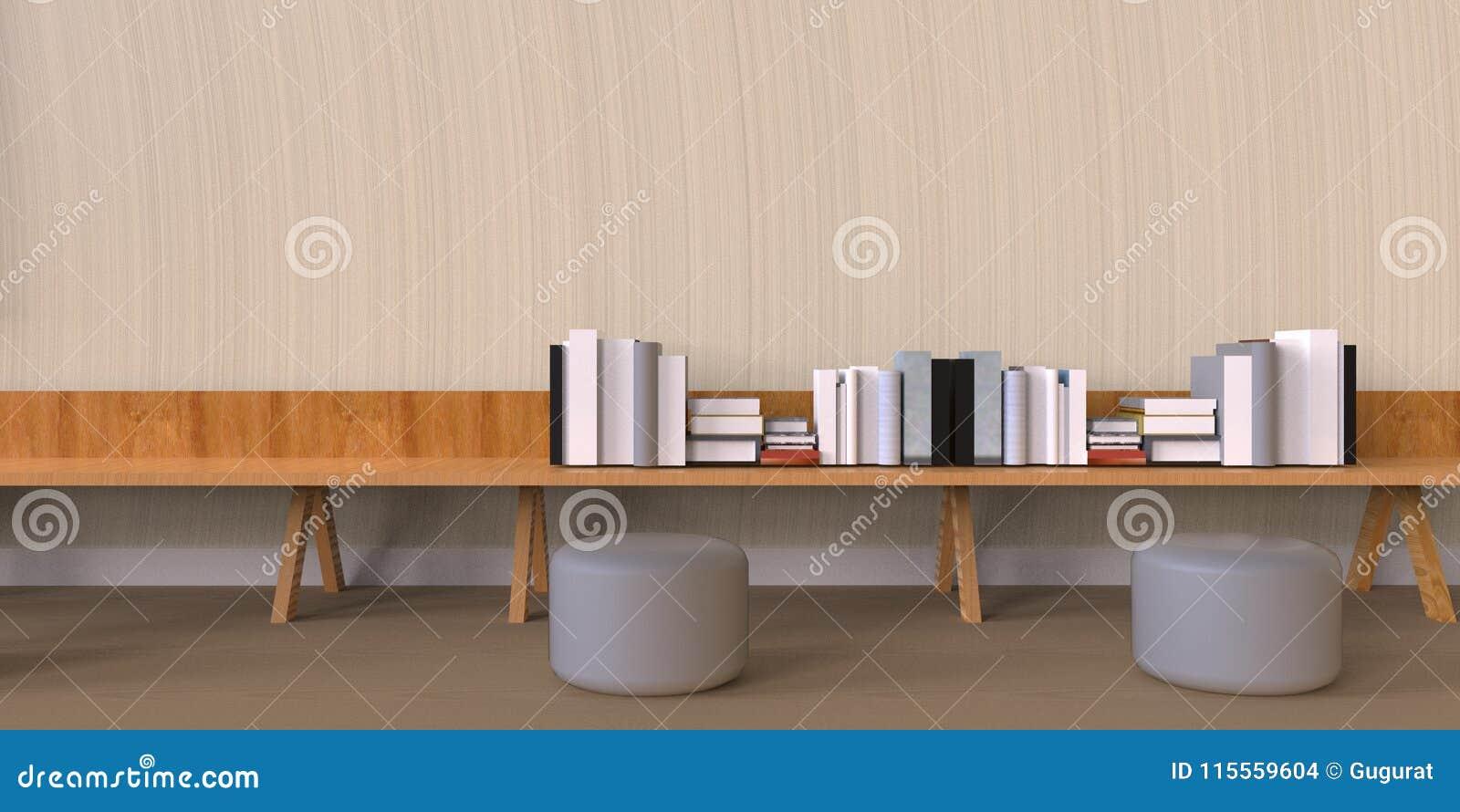 Minimal Office And Desk Bookshelf On Wood Wall