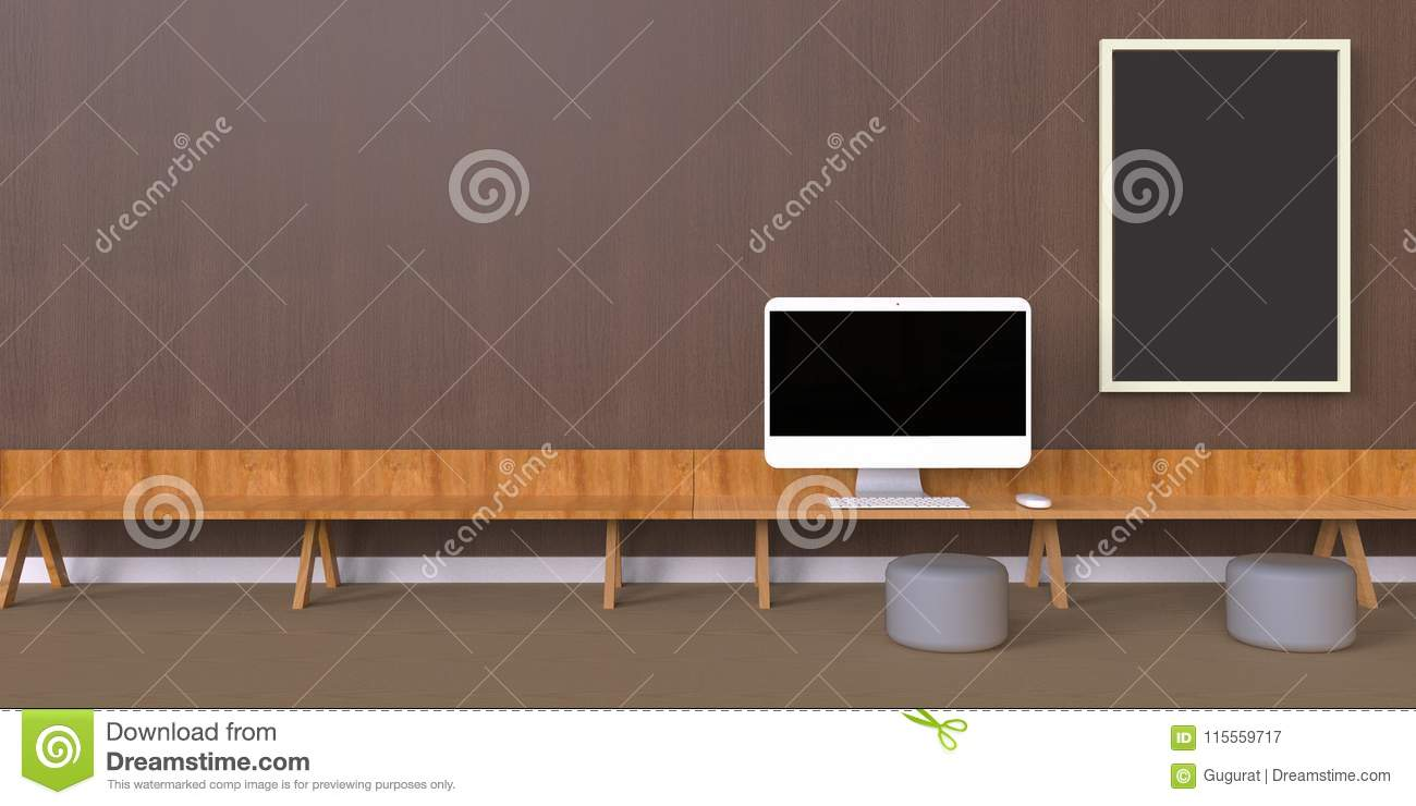 Minimal Office And Desk On One Photo Frames Wood Wall Stock