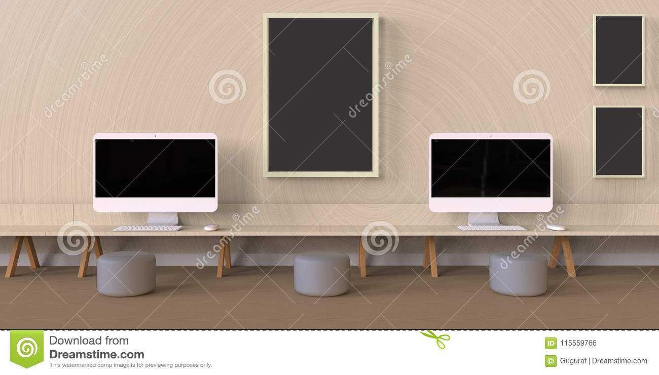 Minimal Office And Desk On Wood Photo Frames And Wall Stock