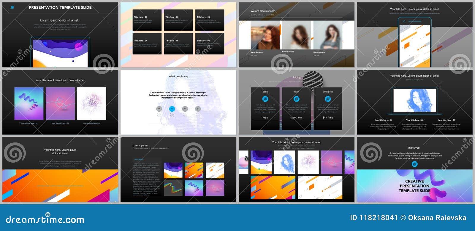 minimal presentations portfolio templates simple elements on black