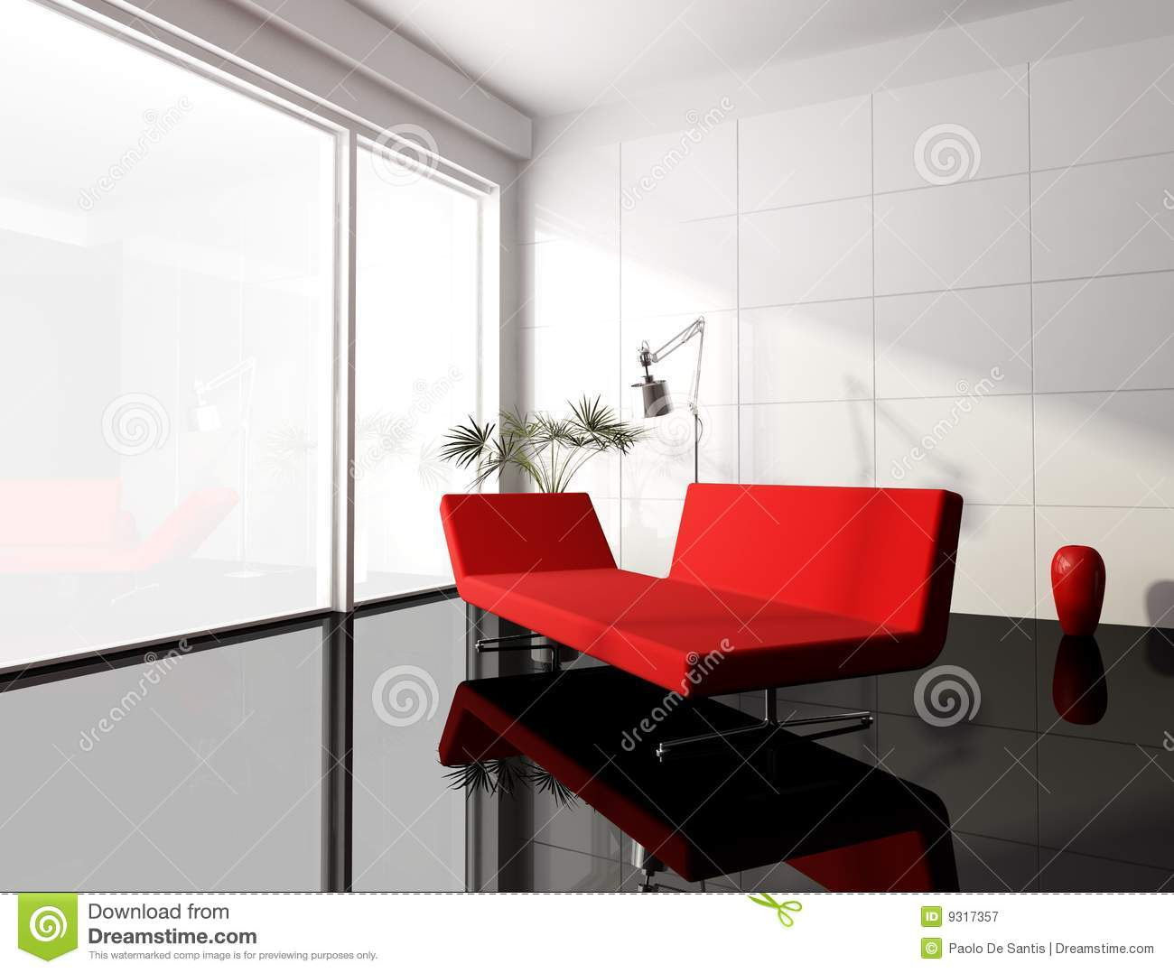 Minimal Red And White Living Room Stock Illustration - Illustration ...