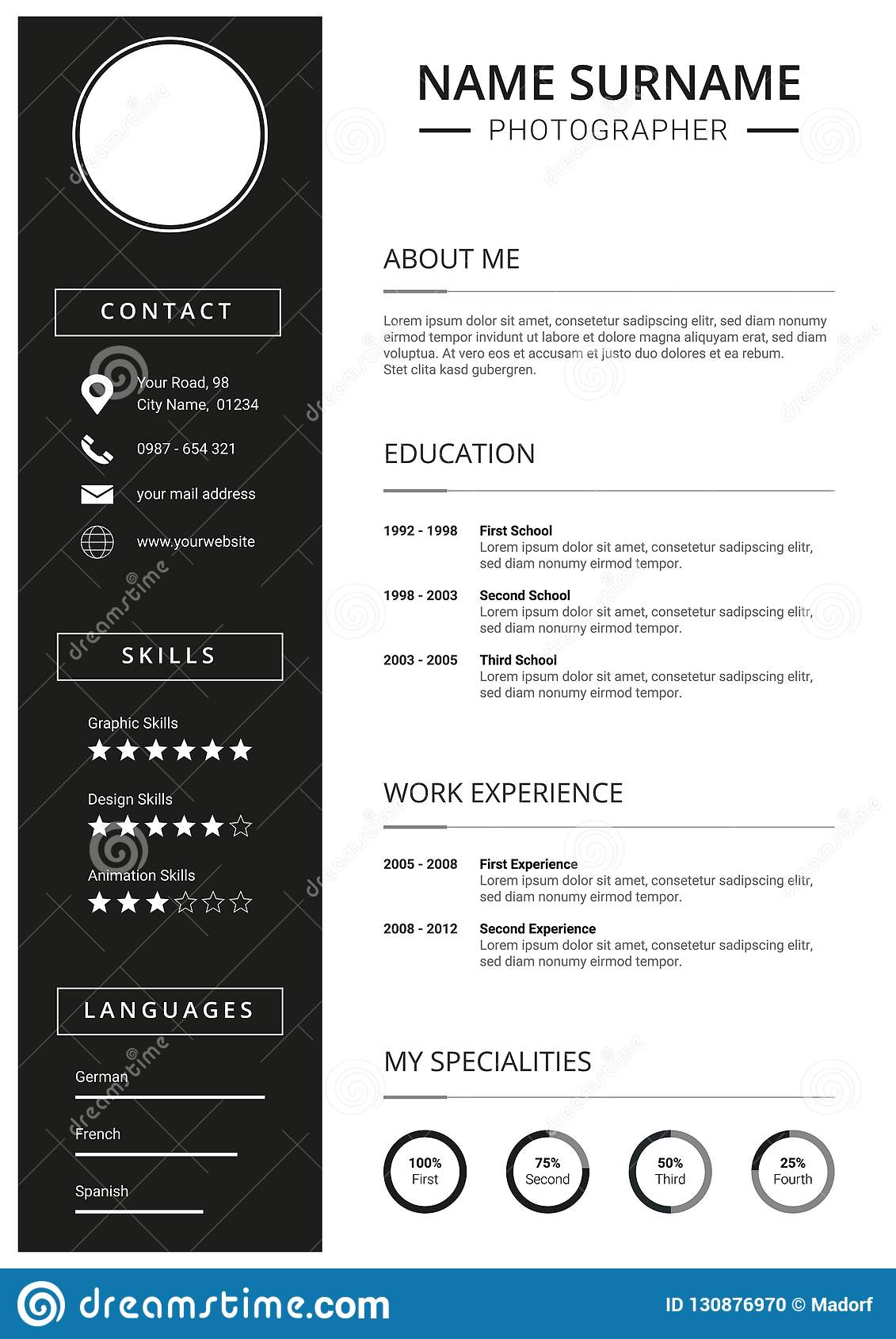 Minimal Resume Cv Template Clean Black And White Design Stock