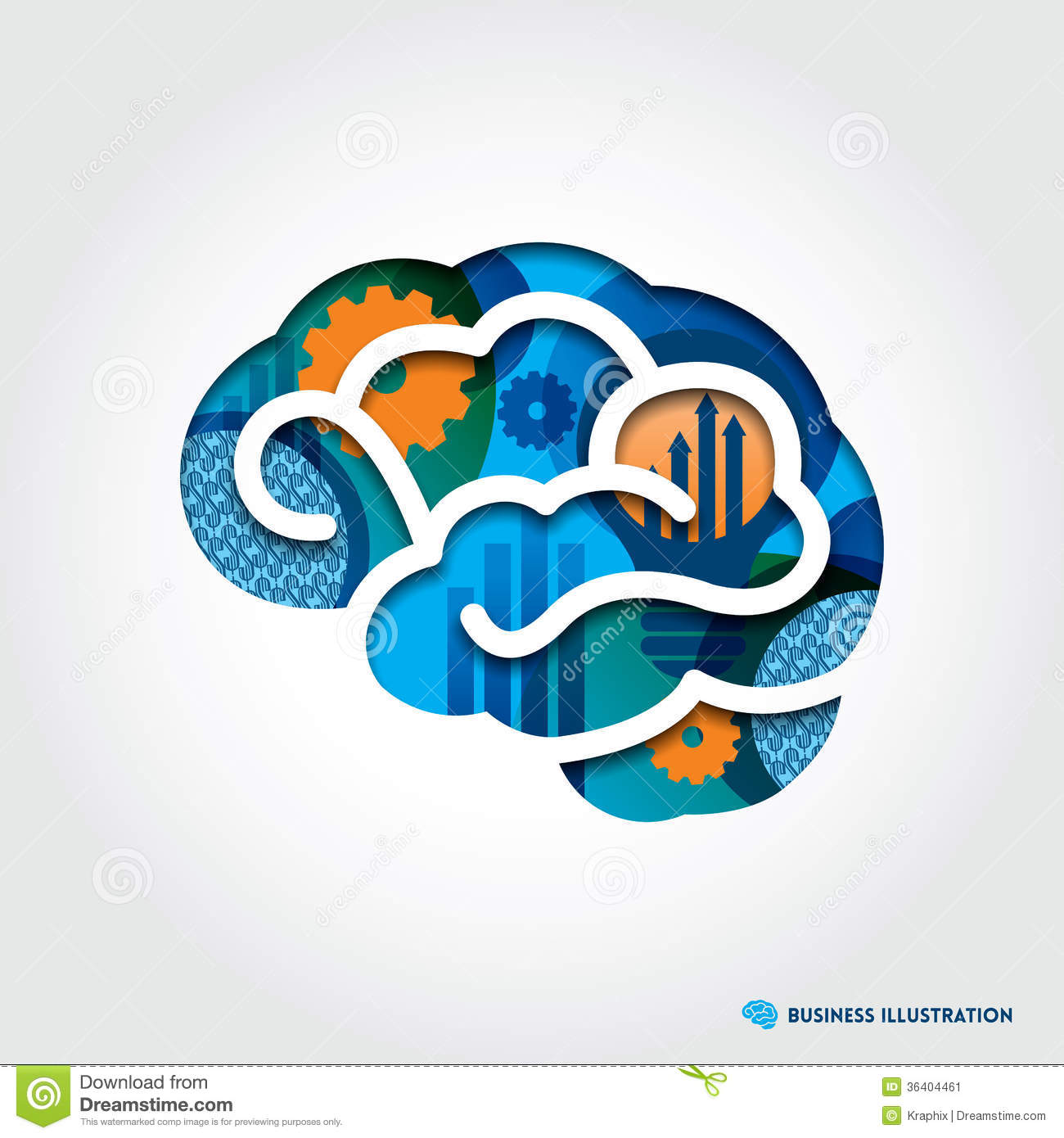 Minimal style Brain Illustration with Business Con